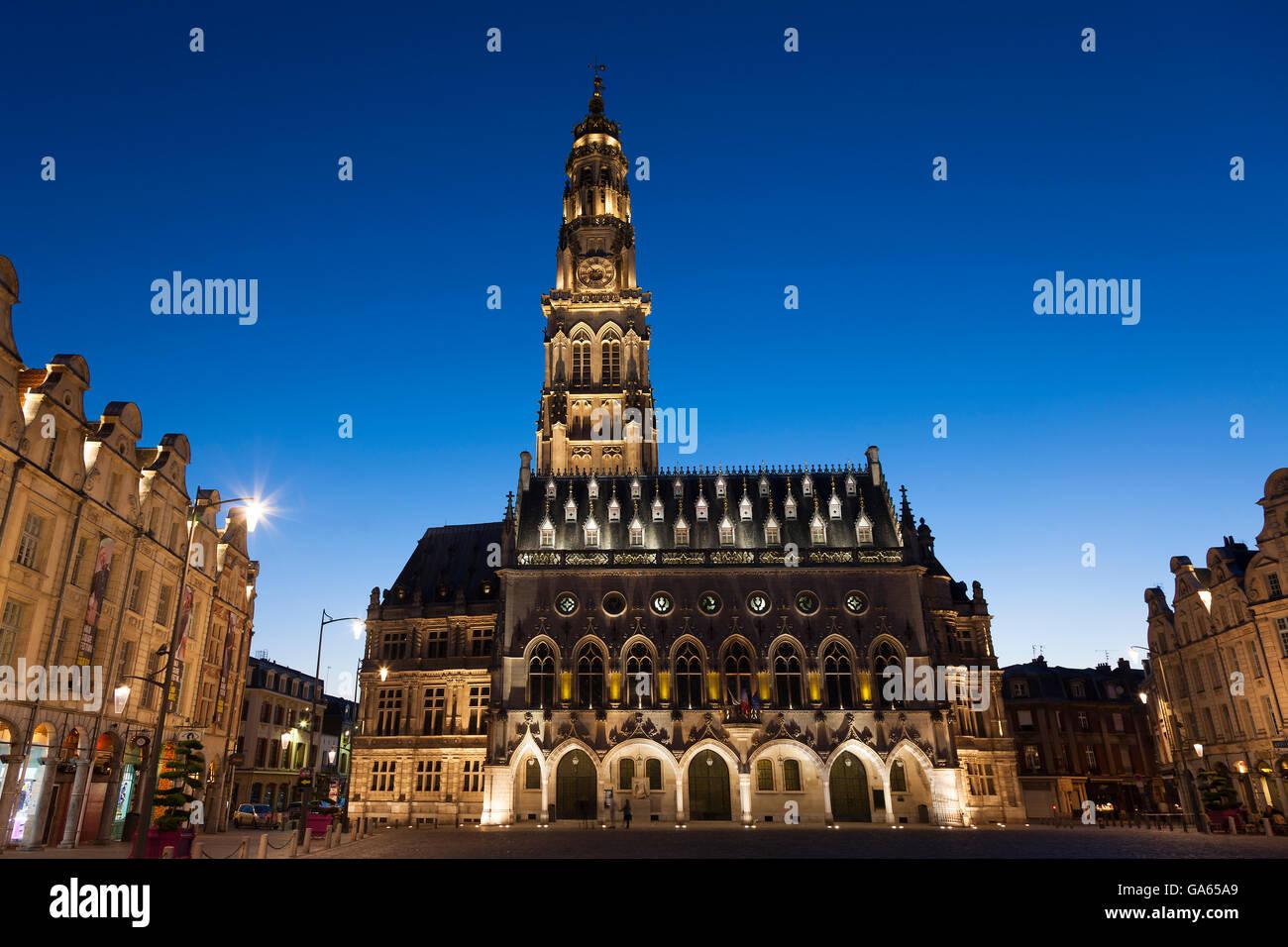 Town hall, Place des Héros, Arras, Pas de Calais Department, Nord-Pas de Calais Picardie region, France - Stock Image