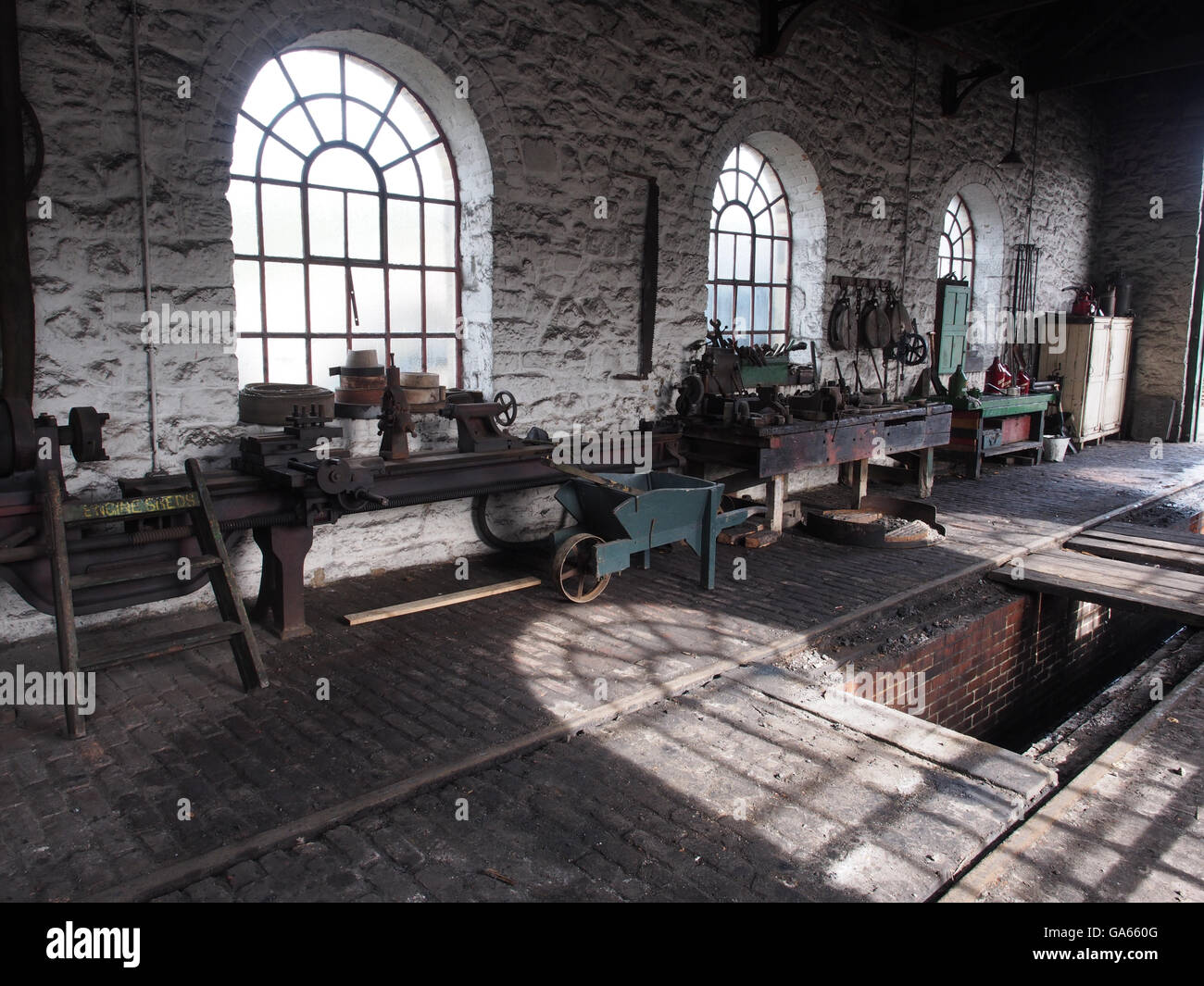 Traditionally equipped  steam engine shed and workshop at the Beamish outdoor museum near Durham, England - Stock Image