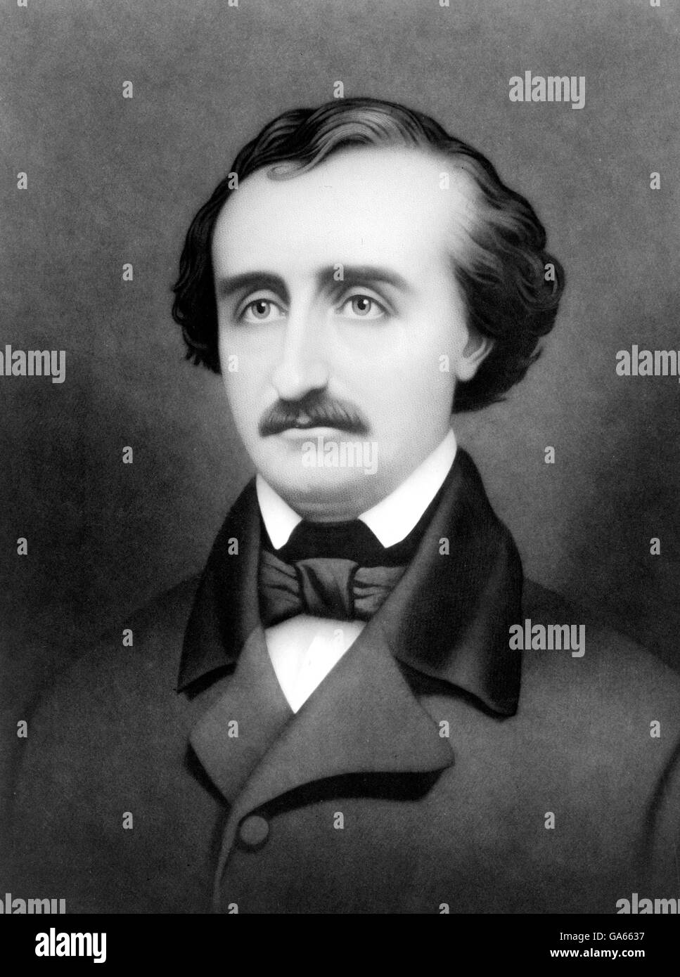 Edgar Allan Poe. Portrait of the American writer, Edgar Allan Poe (born Edgar Poe; 1809-1849). Portrait by William - Stock Image