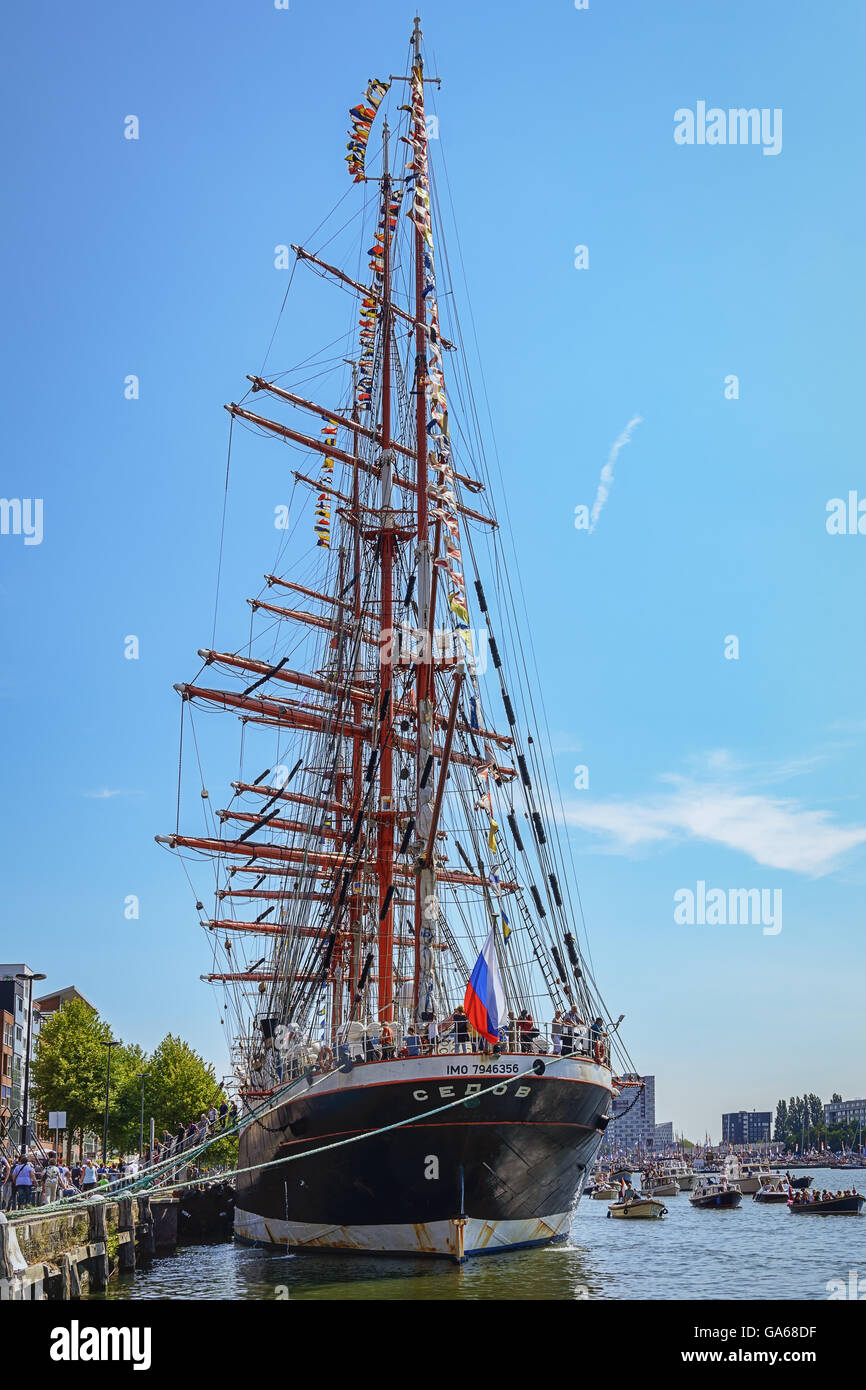 Amsterdam, Netherlands - August 20: SAIL Amsterdam 2015 is an immense flotilla of Tall Ships, maritime heritage, - Stock Image