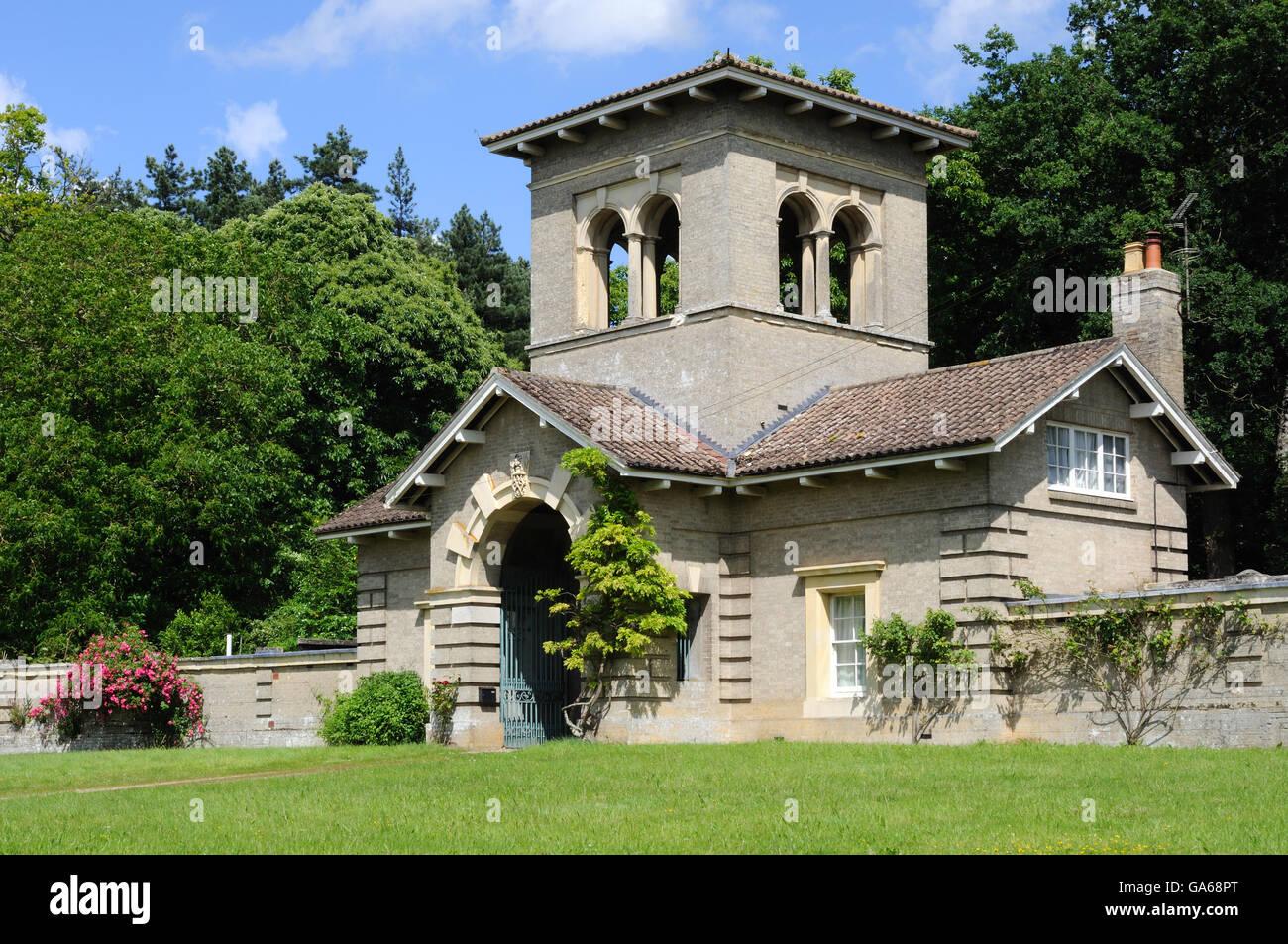 Italianate-style Needham Lodge (attributed to Sir Charles Barry) for Shrubland Hall, near Coddenham, Suffolk, England - Stock Image