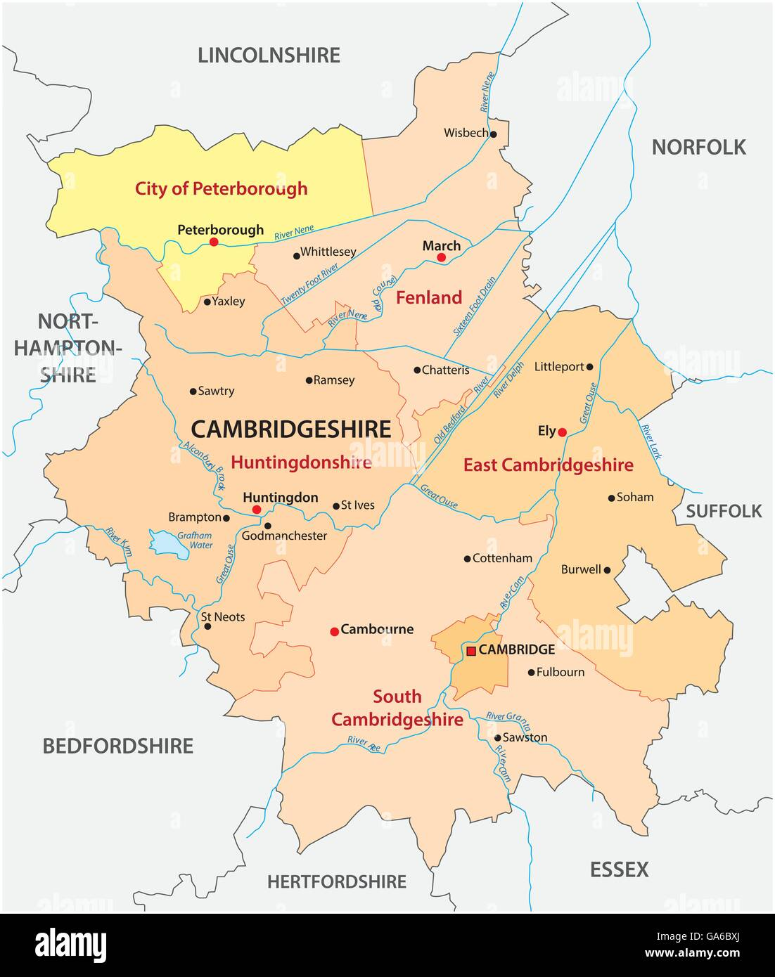 Map Of Cambridgeshire vector map of the administrative county cambridgeshire, england  Map Of Cambridgeshire