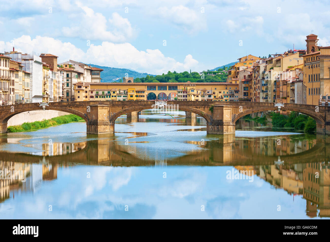 River Arno and Ponte Vecchio in Florence, Italy. - Stock Image