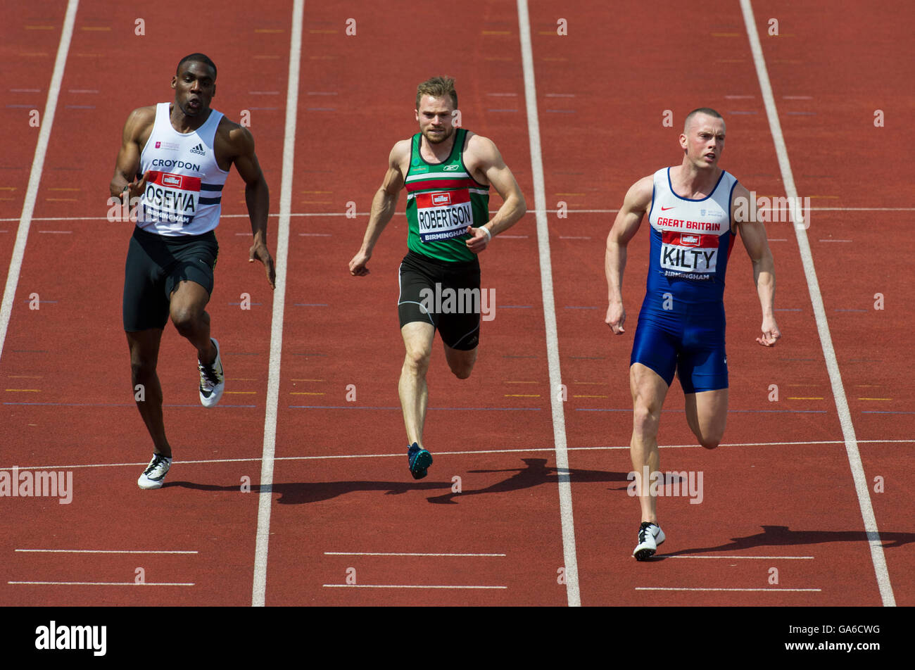 Birmingham 25th June 2016, Sam Osewa (L)_ Andrew Robertson (M) _ Richard Kilty (R) competing in the Men's 100m - Stock Image