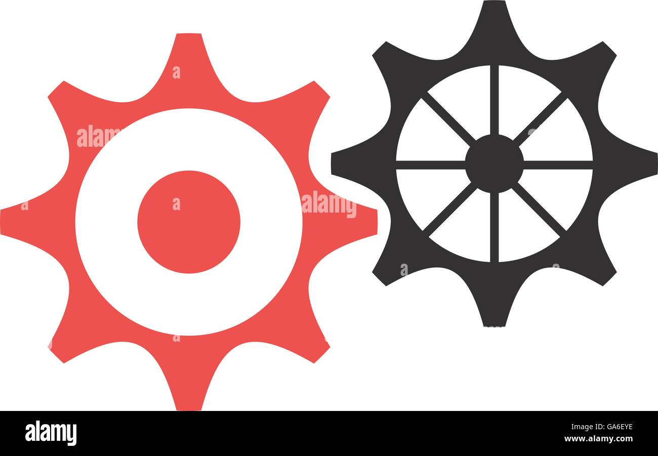 black and red settings icon, vector graphic Stock Vector Art