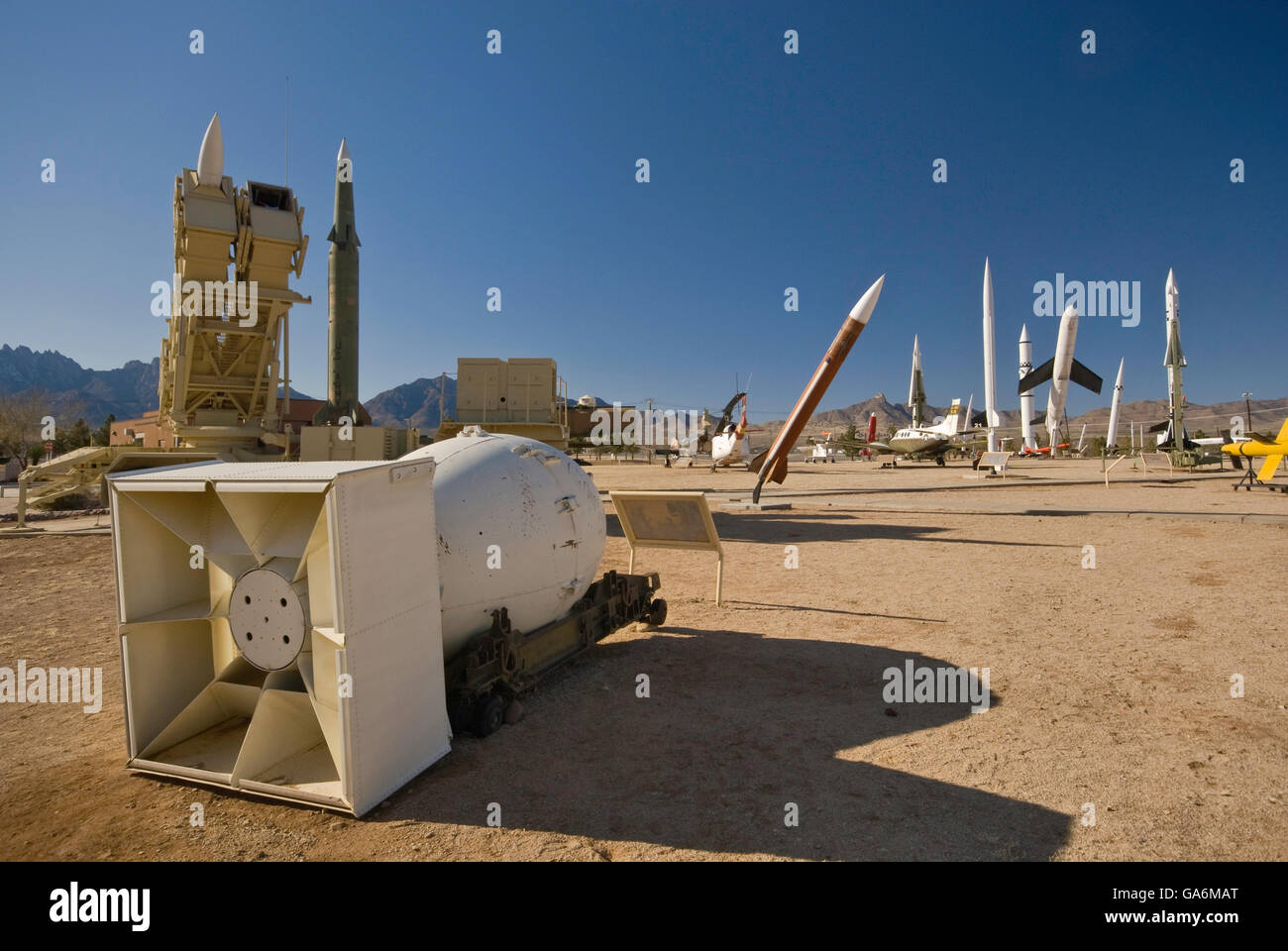 Fat Man nuclear bomb and rockets in Missile Park at White Sands Missile Range Museum near Las Cruces, New Mexico, - Stock Image