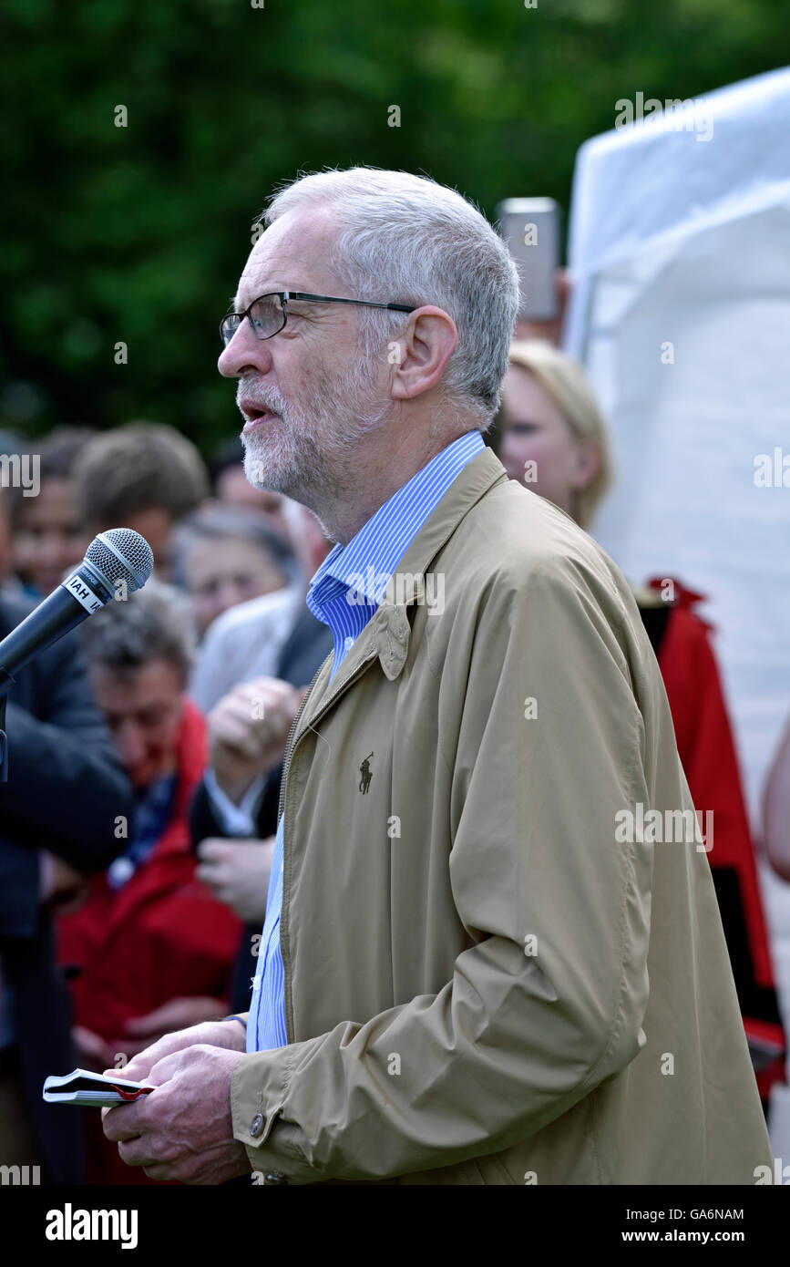 Jeremy Corbyn speaking at the say no to hate crime rally in Highbury Fields, London Borough of Islington England - Stock Image