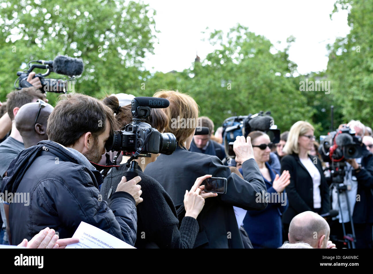 Photographers at the - say no to hate crime rally - in Highbury Fields, London Borough of Islington England Britain - Stock Image
