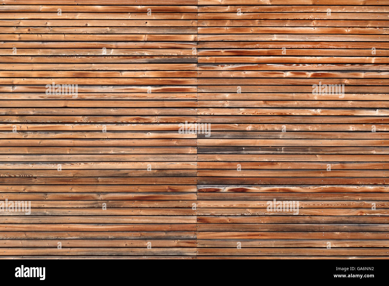 Wooden facade in horizontal format - Stock Image