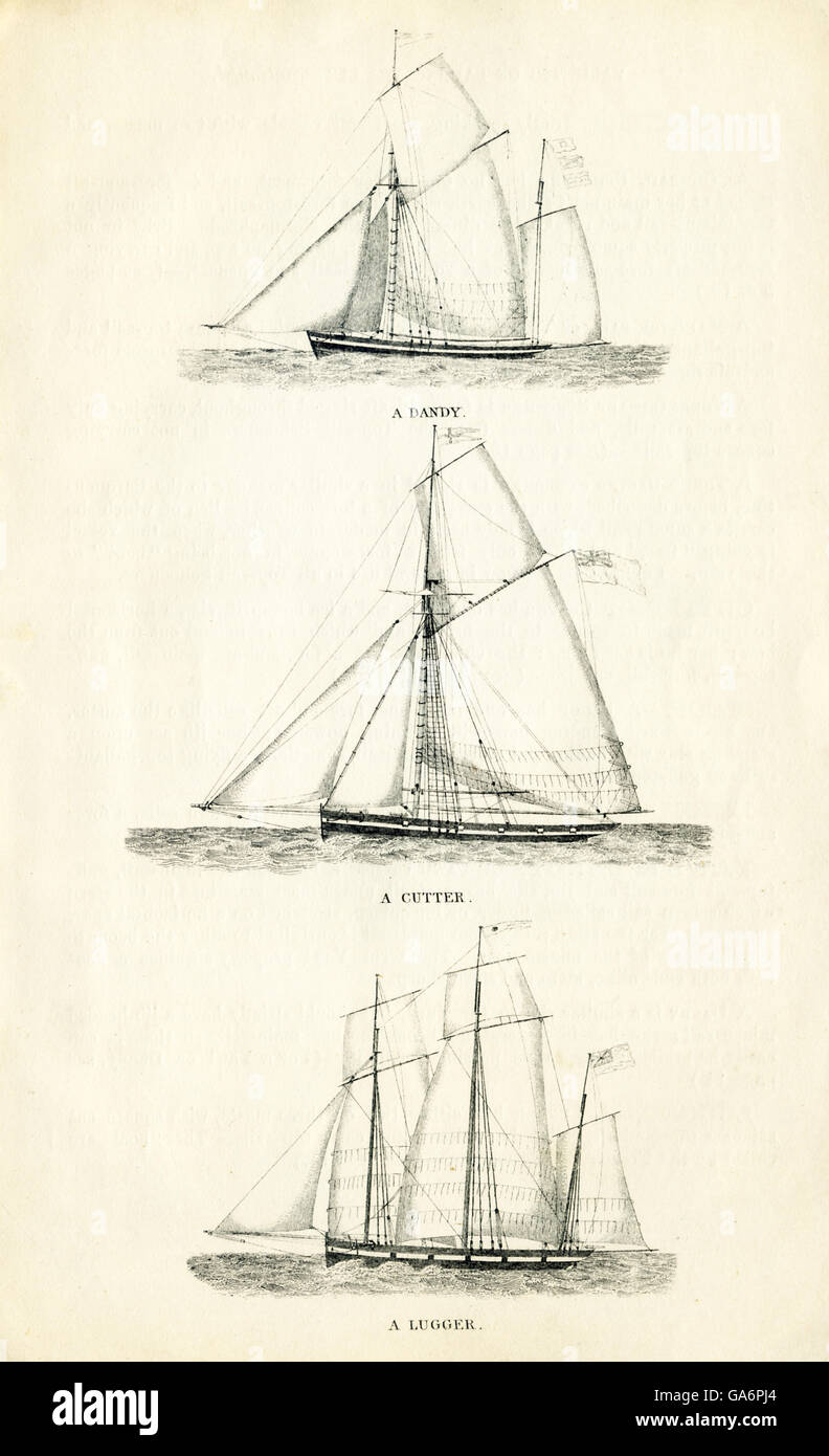 These three ships are, from top to bottom: a dandy, a cutter, and a lugger. The illustration dates to the 1800s. - Stock Image