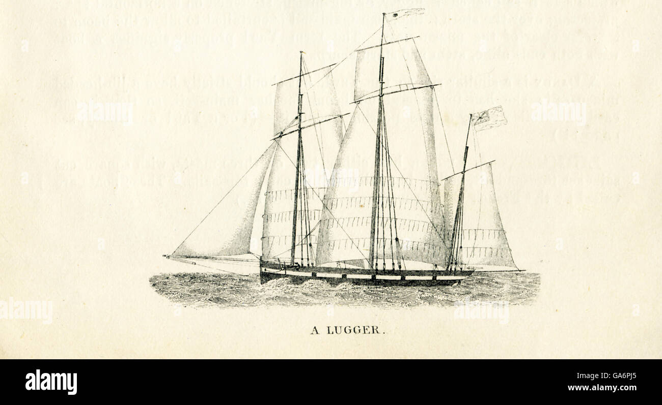 The ship pictured here is a lugger. The illustration dates to the 1800s. - Stock Image