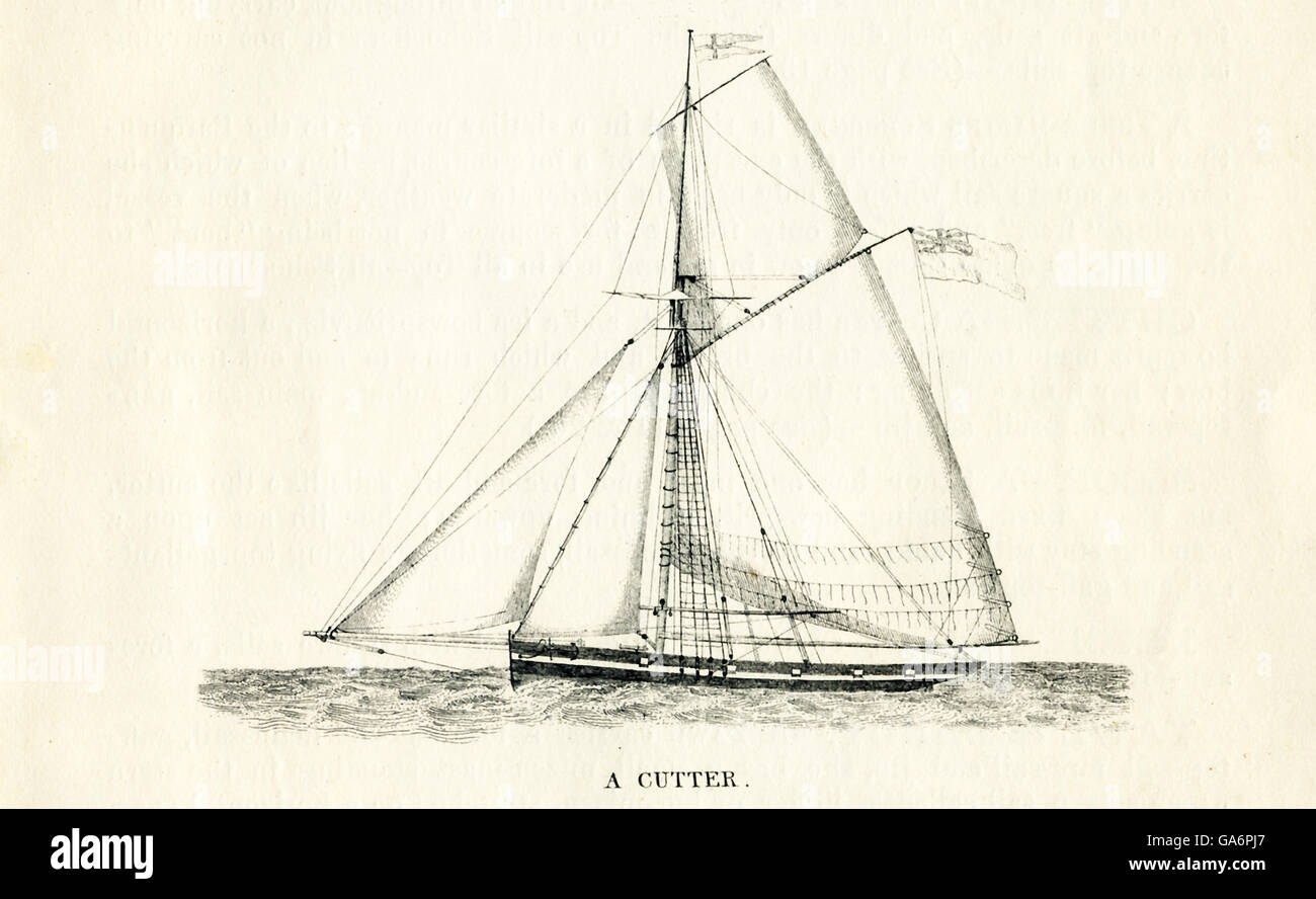 The ship pictured here is a cutter. The illustration dates to the 1800s. - Stock Image