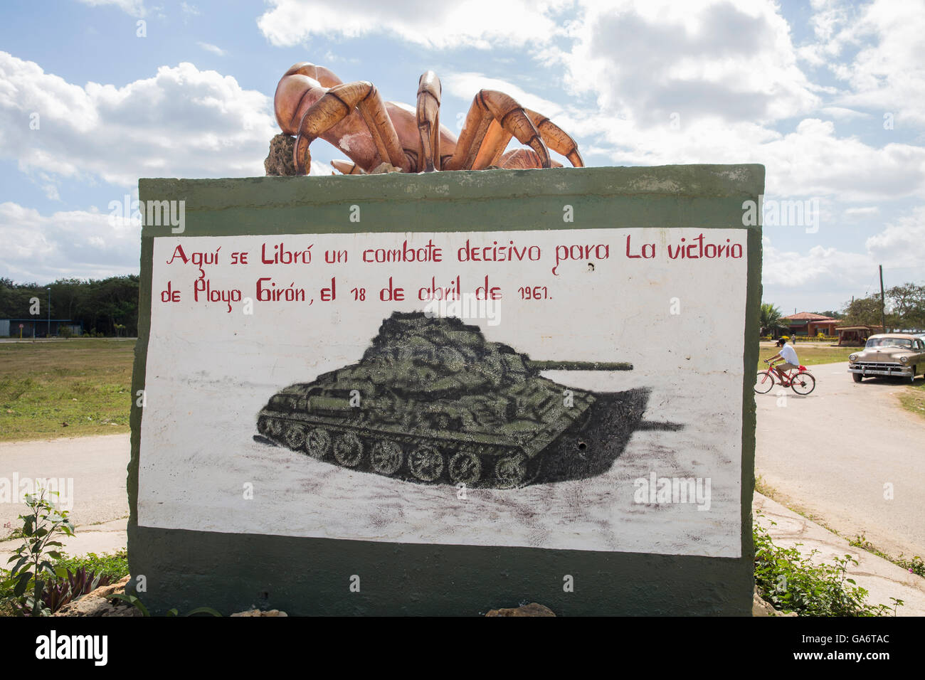 Modest monument commemorating Cuba's victory over the U.S. in the Bay of Pigs incident. - Stock Image
