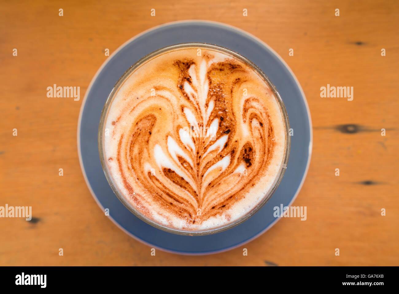 Coffee with latte art Stock Photo