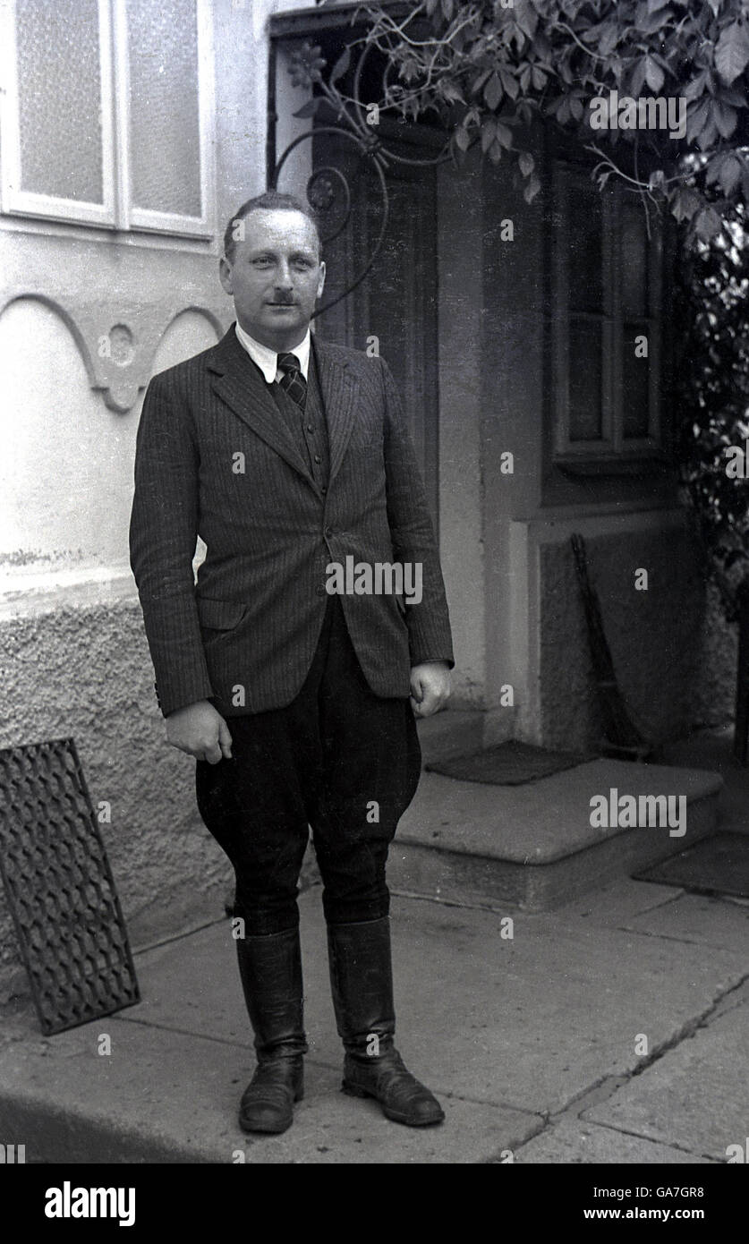 1930s, historical, Local sudenten Bohemian german land or estate owner, wearing traditional puffed-out trousers, Stock Photo