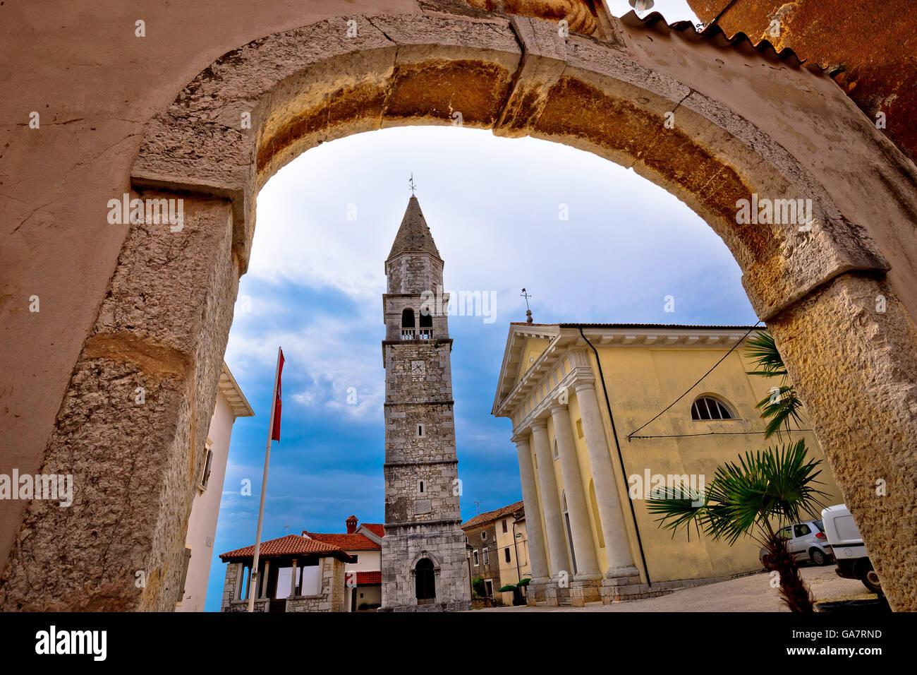 Town of Visnjan square and church, Istria, Croatia - Stock Image