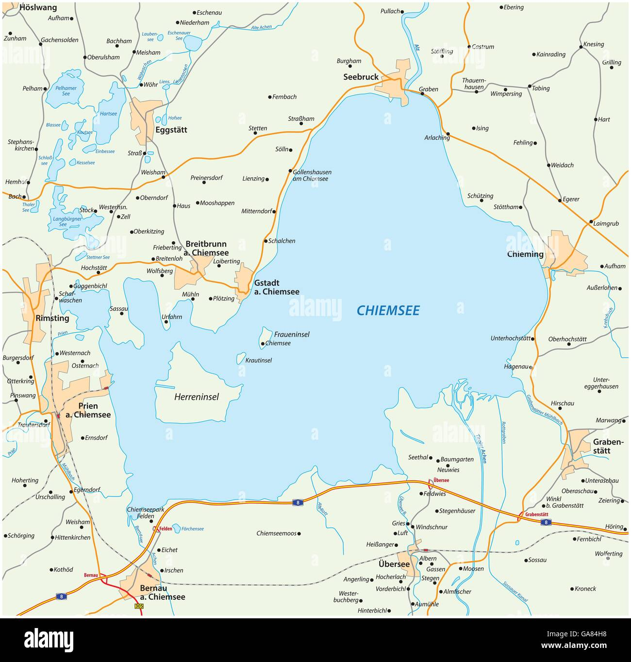 vector road map of the Bavarian lake Chiemsee, Germany Stock Vector ...