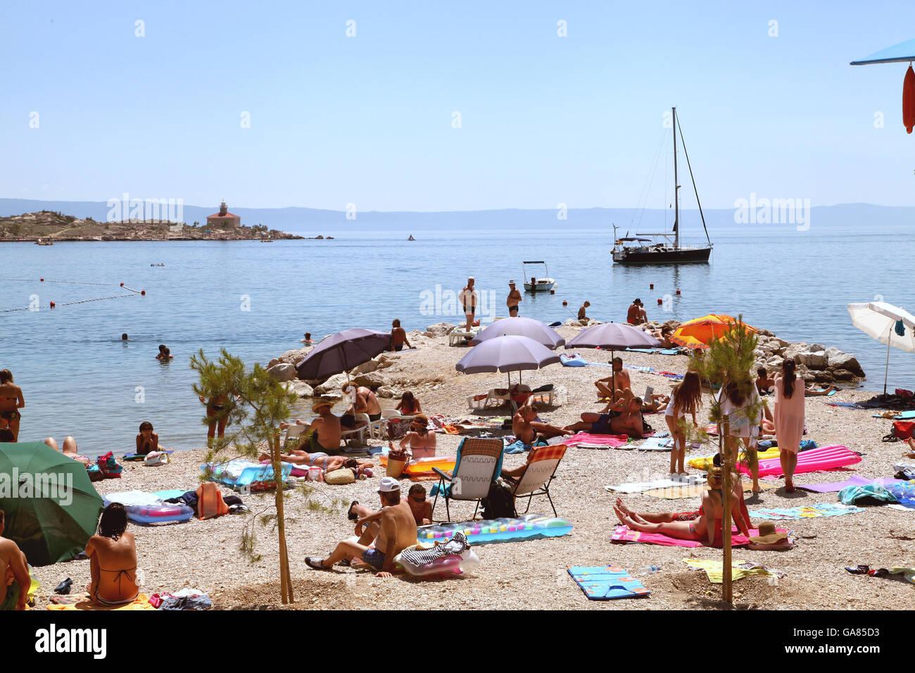 Vacations makers on the Adriatic coast Makarska - Stock Image