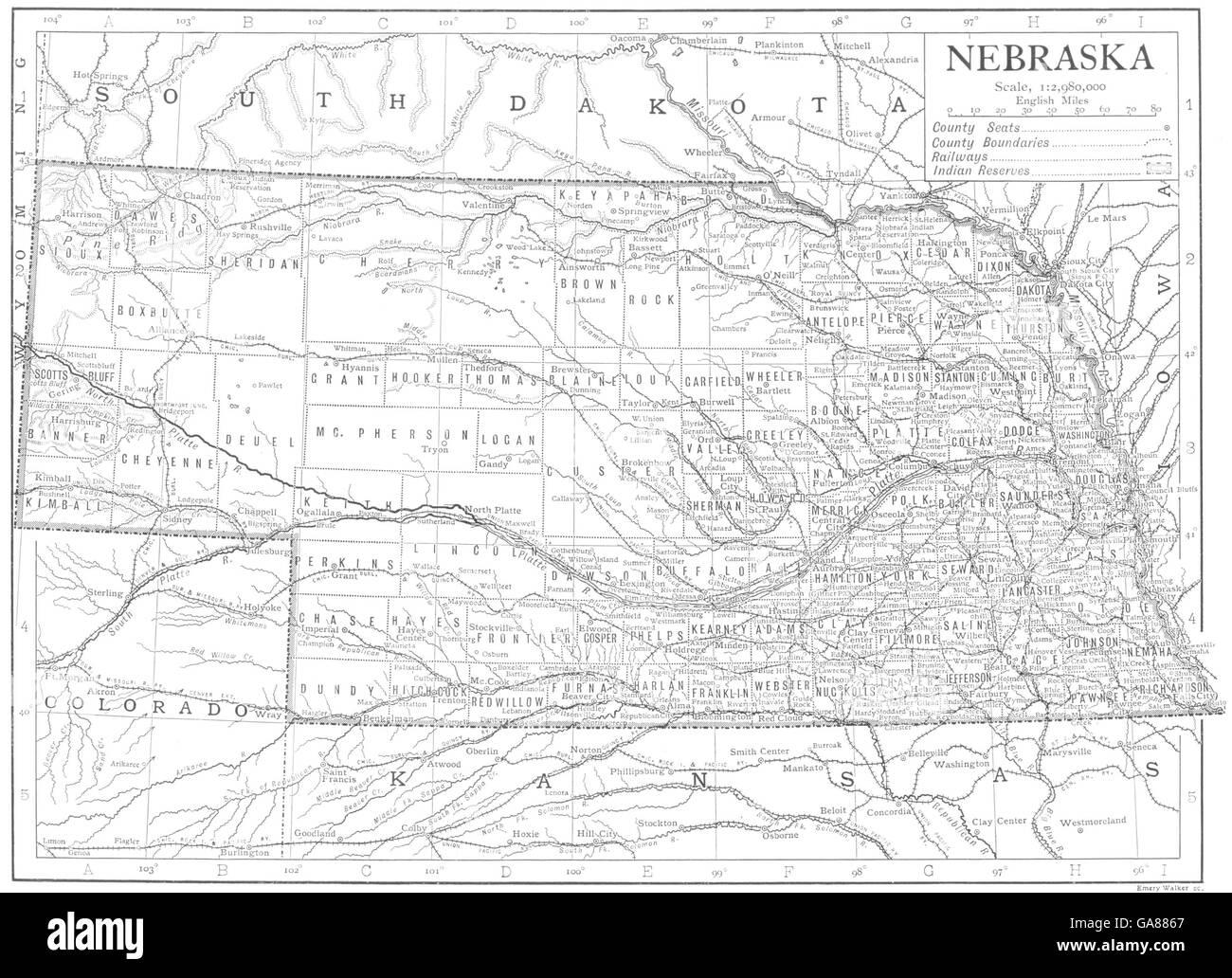 Nebraska Map Vintage Stock Photos Nebraska Map Vintage Stock