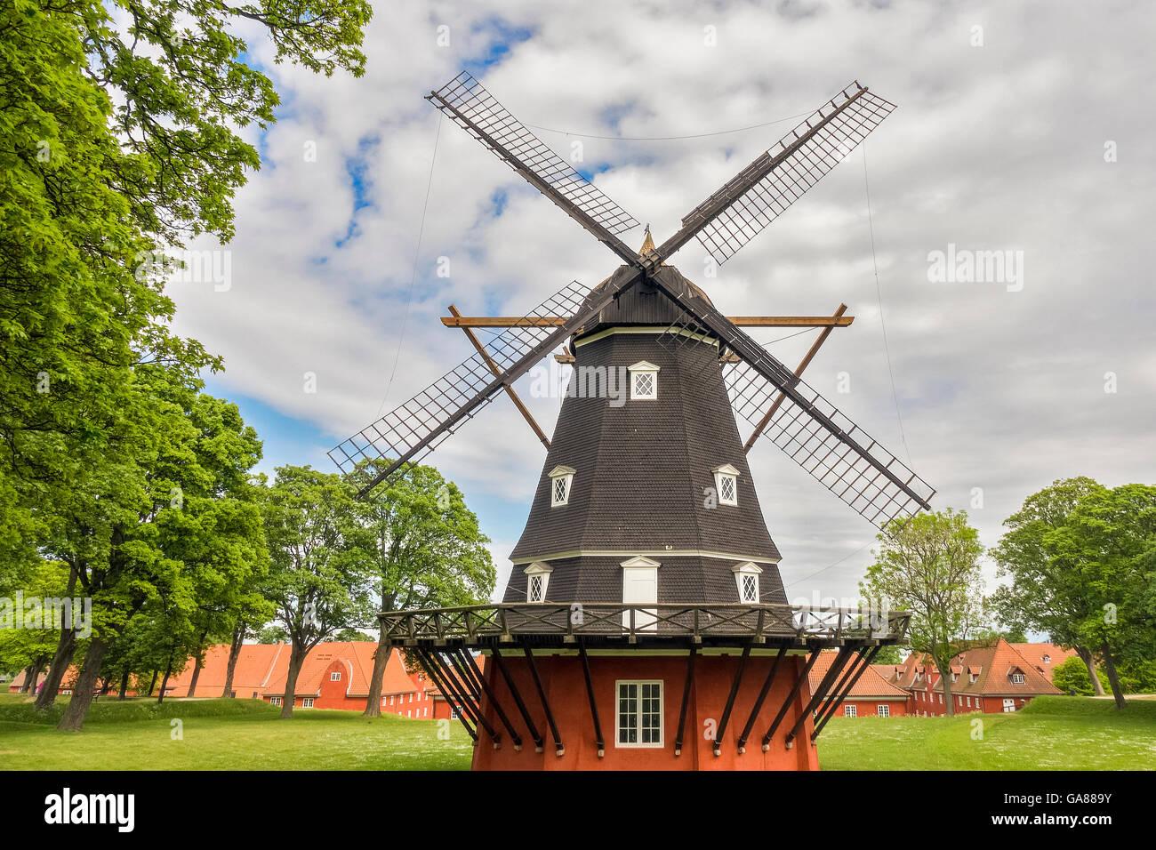 Windmill At The  Kastellet Fortress Copenhagen Denmark - Stock Image