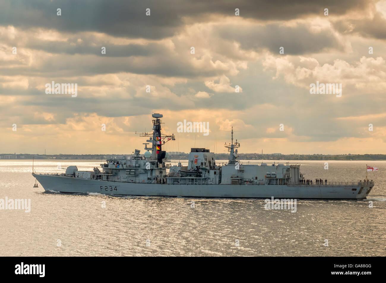 British Warship Iron Duke Approaching Copenhagen Denmark - Stock Image