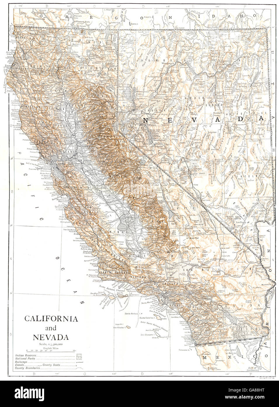 CALIFORNIA AND NEVADA: State map showing counties, 1910 ...
