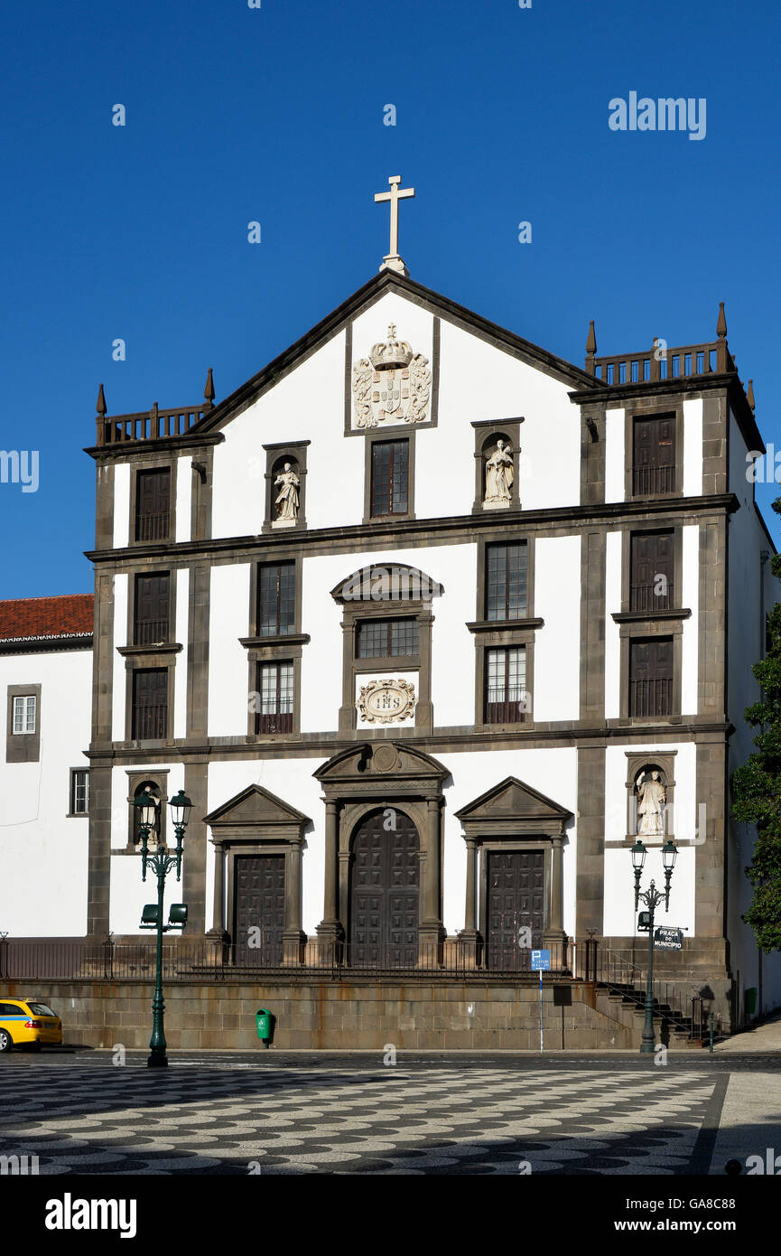 The College of Jesus Church in the Municipal Square of Funchal, Madeira, Portugal - Stock Image