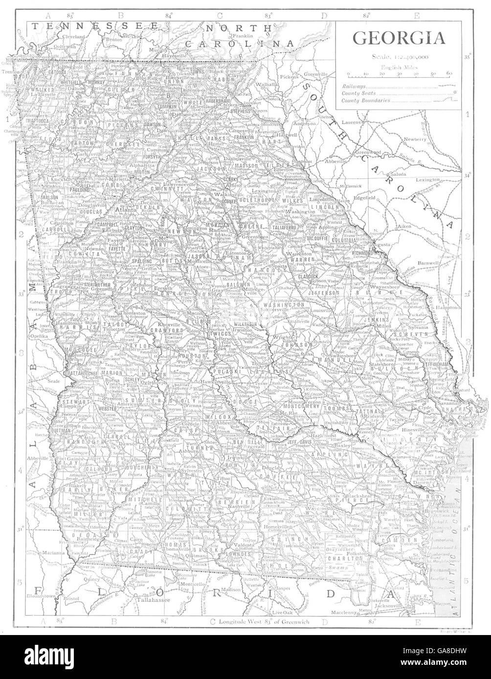 Map Of Georgia Usa Counties.Georgia Usa State Map Showing Counties 1910 Stock Photo 109595077