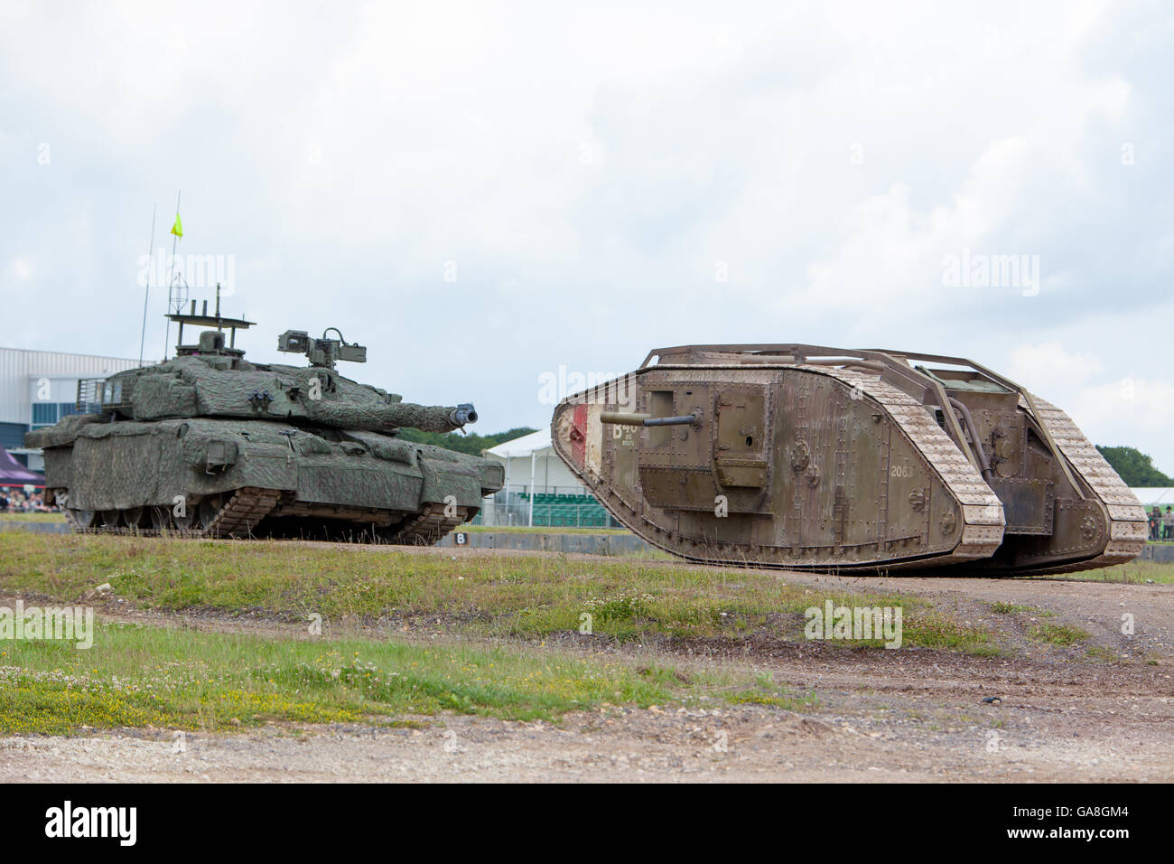 Tankfest, bovington, 2016 Mark IV First World War tank compared to the latest Challenger 2 British Army Tank - Stock Image