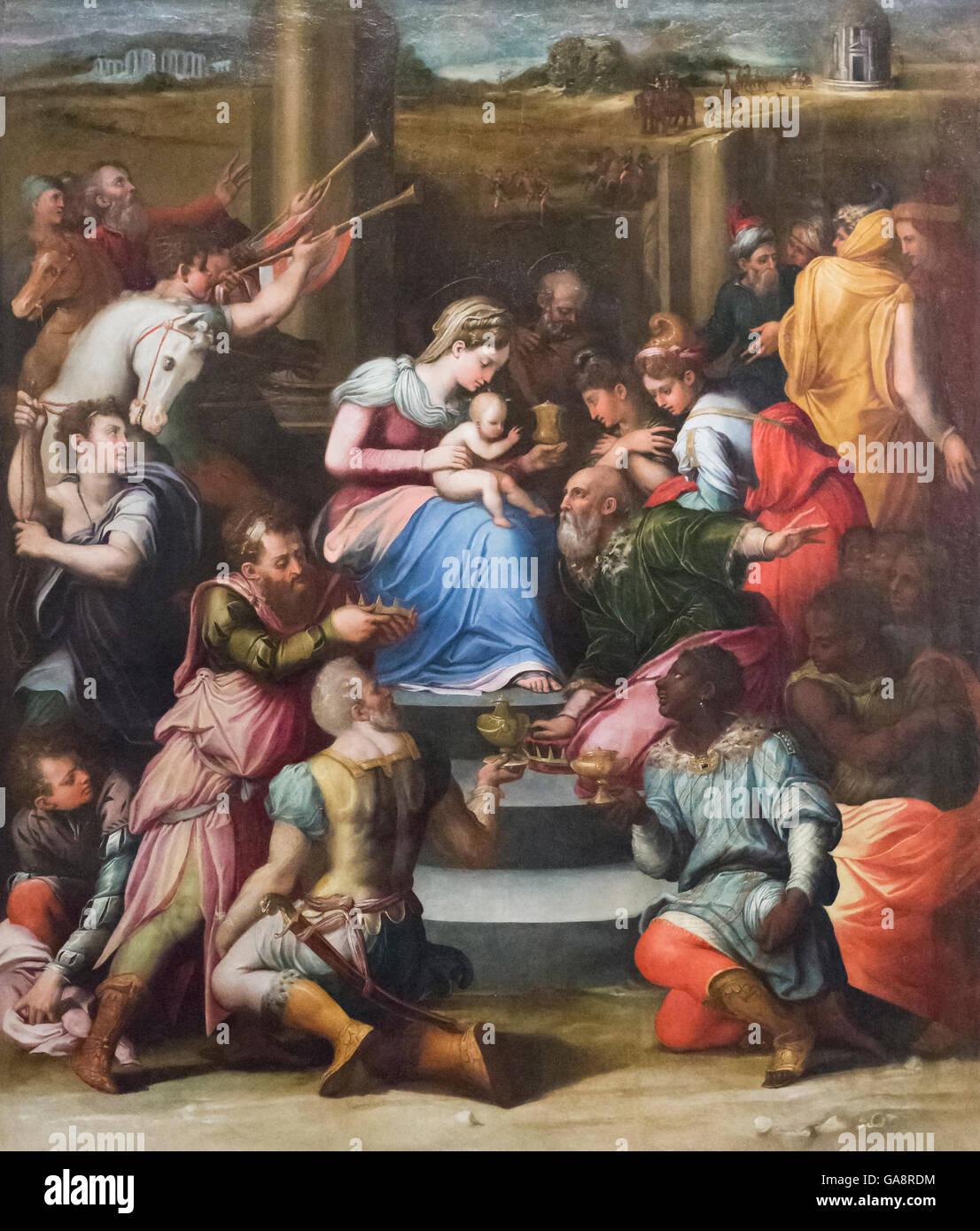 Nativity and the adoration of the Magi,  Raffaellino del Colle - Stock Image
