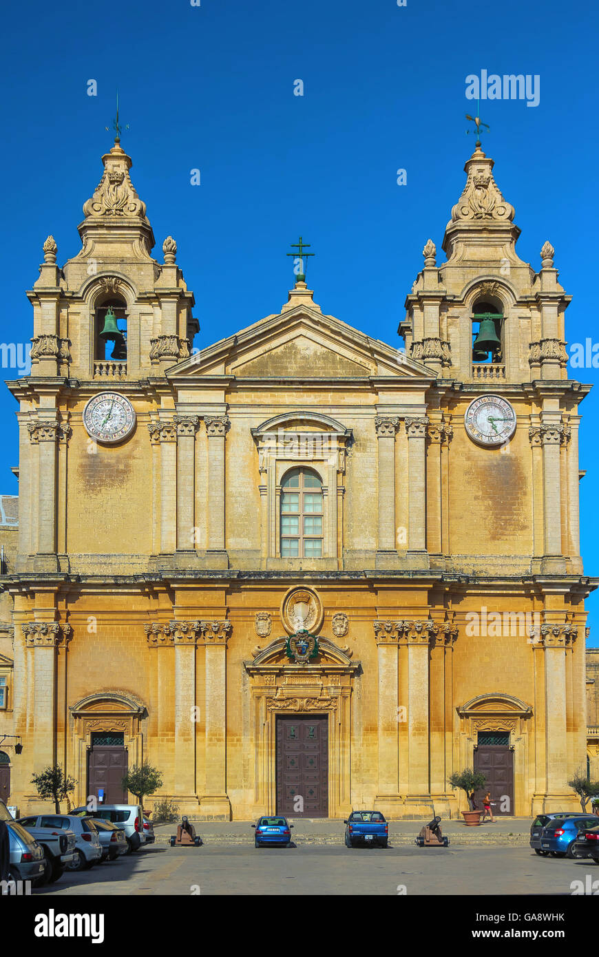 Malta, Mdina - St Paul's cathedral - Stock Image