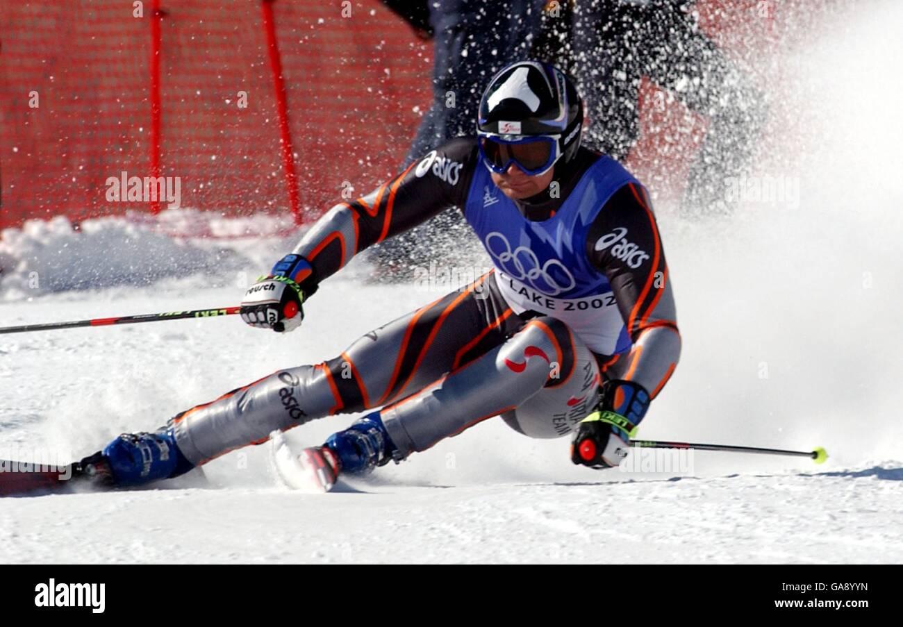 Winter Olympics - Salt Lake City 2002 - Alpine Skiing - Men's Giant Slalom Stock Photo
