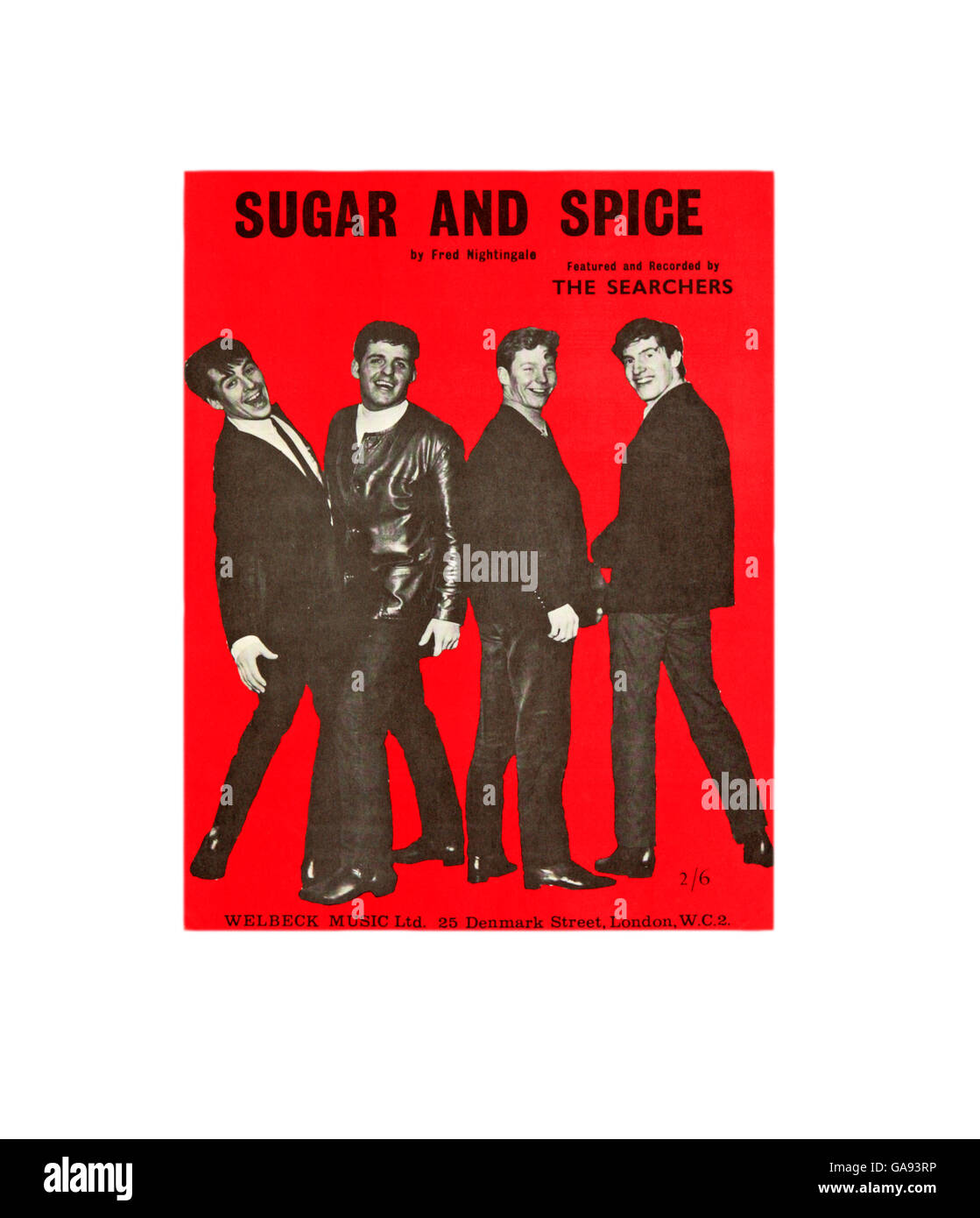 A sheet music cover for Sugar and Spice by The Searchers. - Stock Image