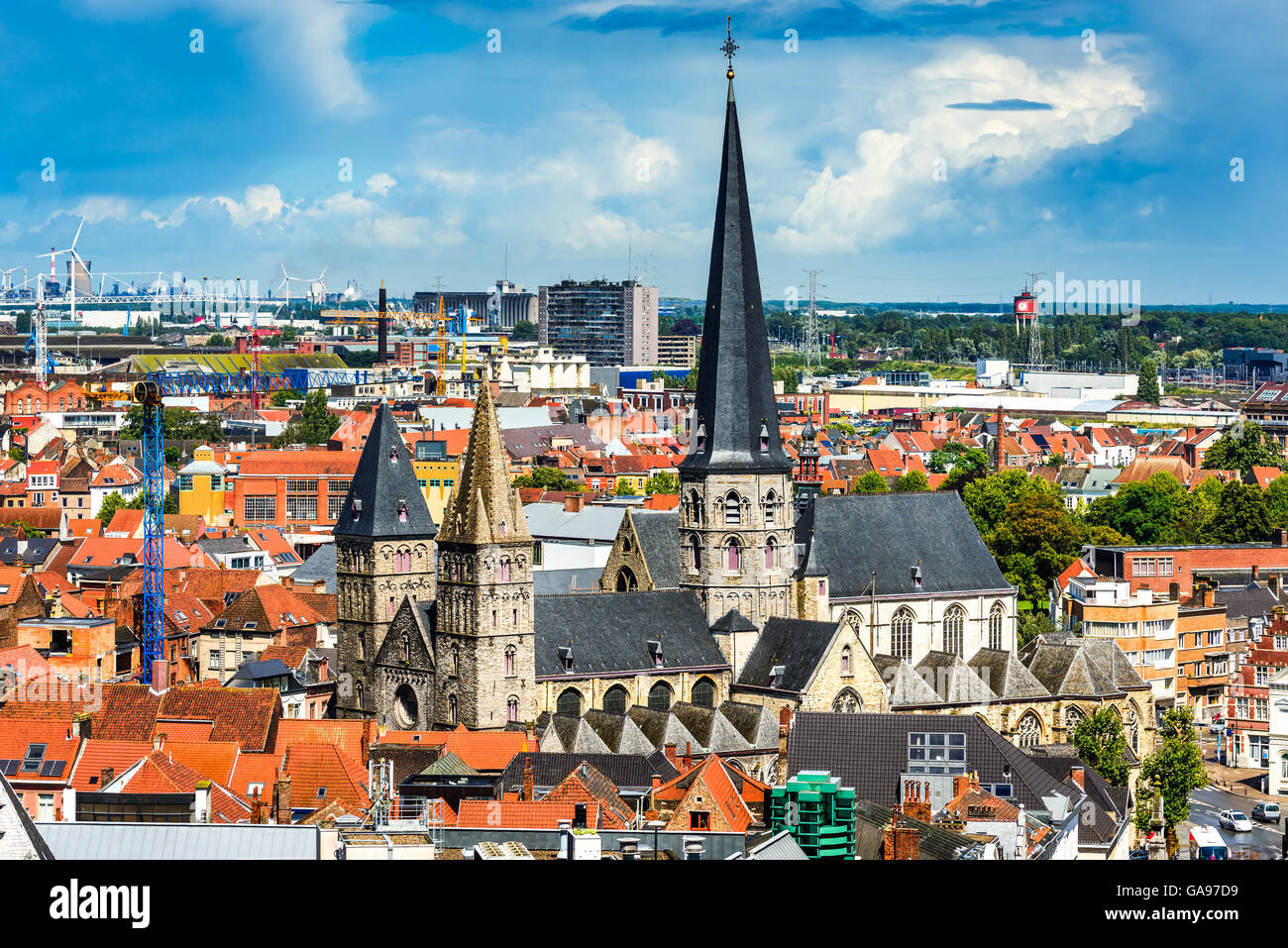 Gent, Belgium. Skyline of Ghent (Gand) in West Flanders, seen from Belfort tower with St. Jacob Church. - Stock Image