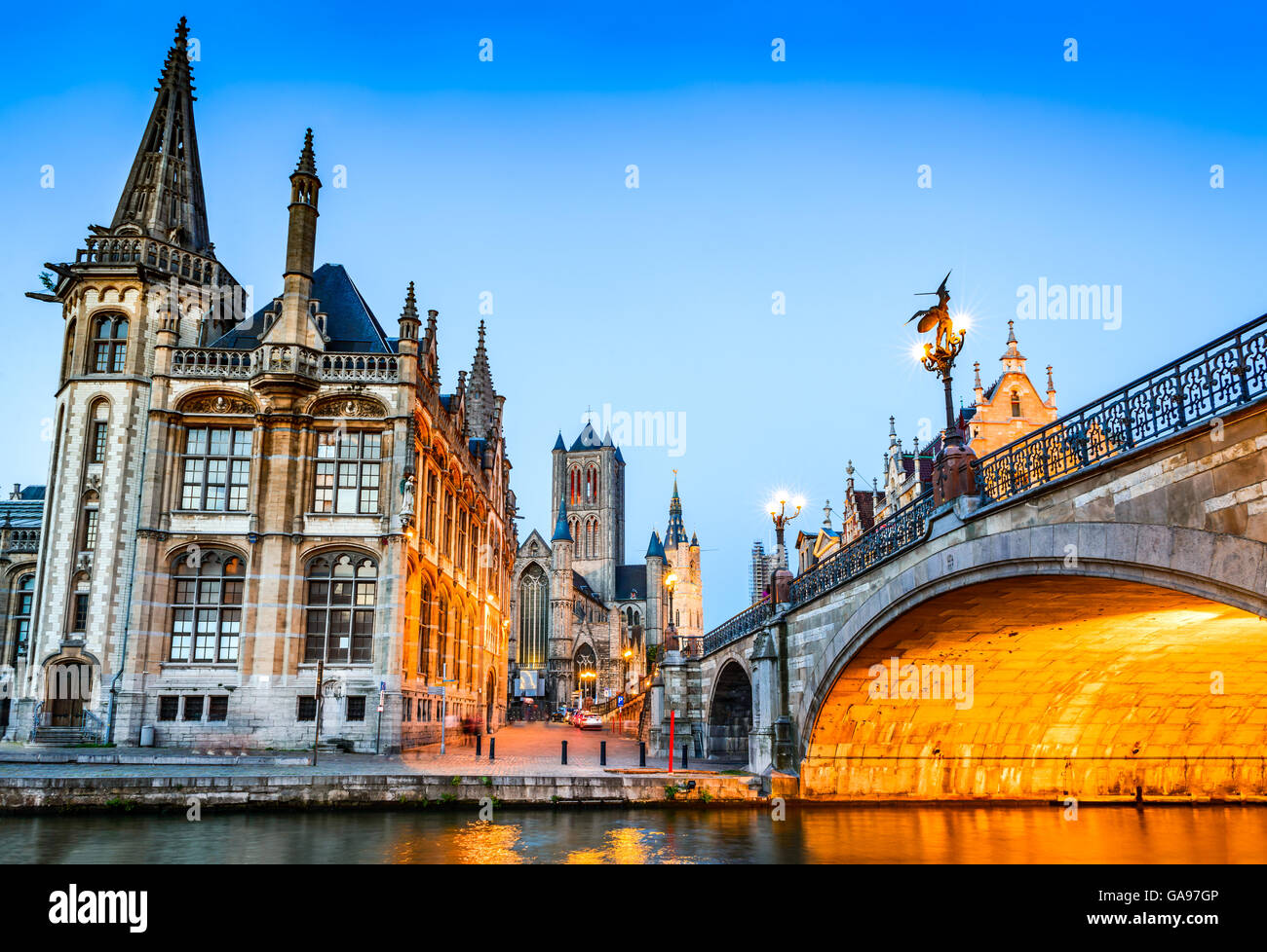 Gent, Belgium. The historic center of Ghent (Gand), embankment Graslei at night. Former center of the medieval harbor, - Stock Image