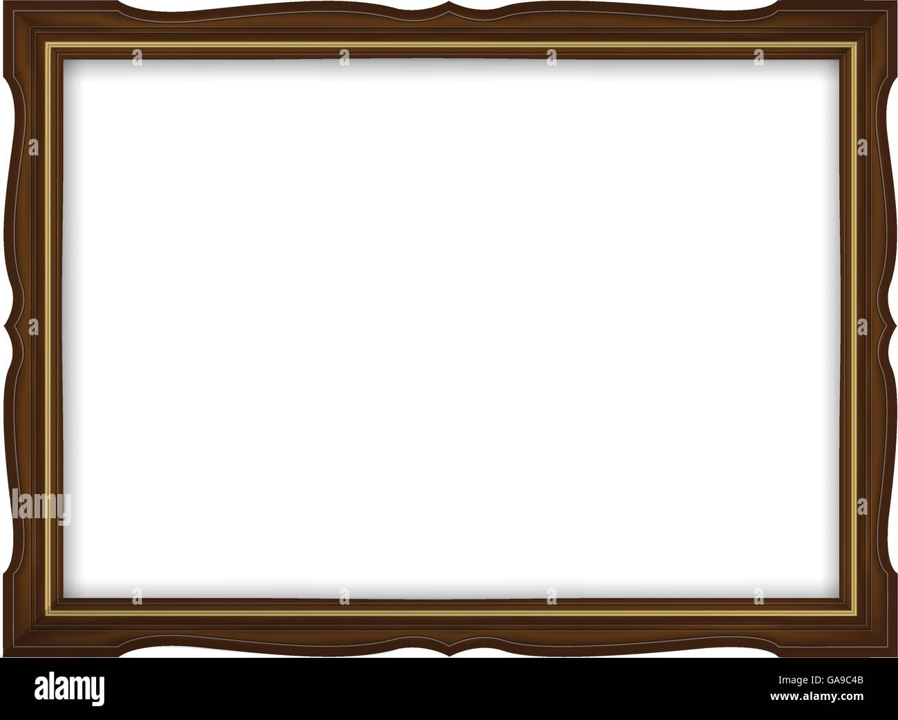 Wooden and gold frame for paintings isolated on white background ...