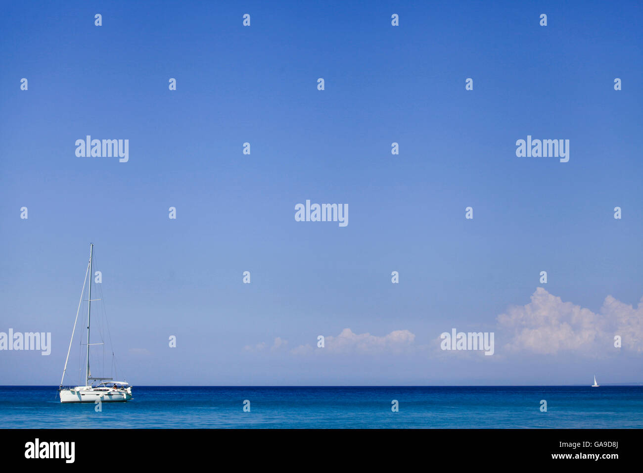 Sailing boats as seen from the Xigia beach in Zakynthos on July 25, 2015. - Stock Image