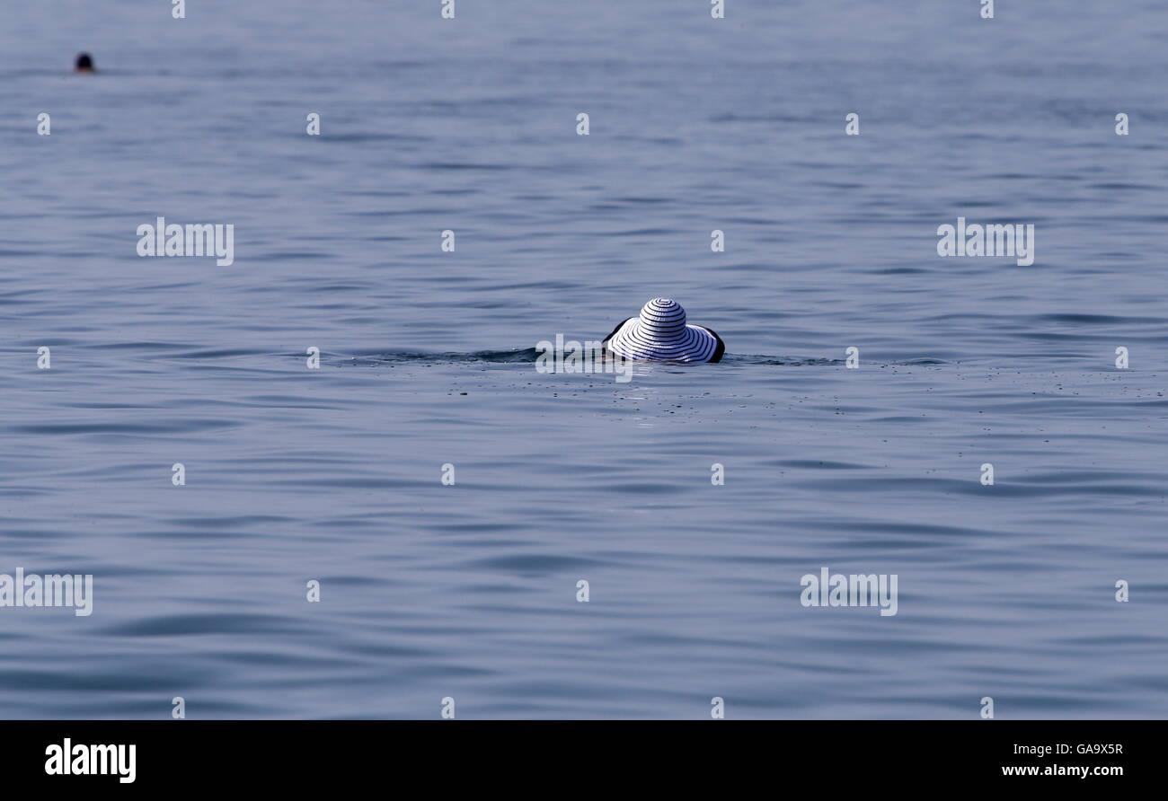 GELENDZHIK, RUSSIA - AUGUST 1, 2016: A girl swims in the Black Sea. Valery Matytsin/TASS - Stock Image