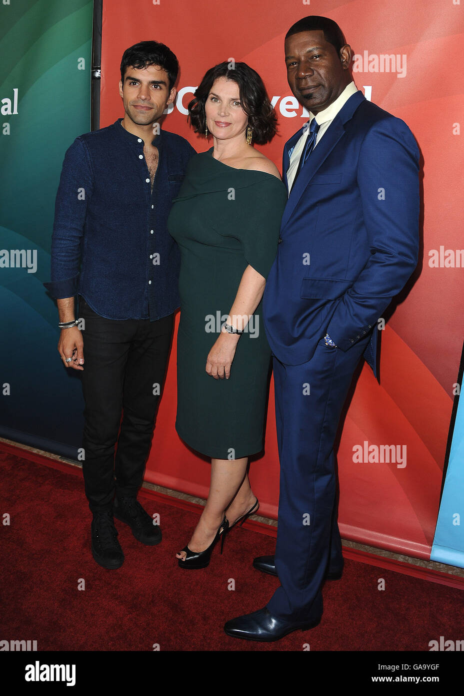 BEVERLY HILLS, CA - AUGUST 3:  Sean Teale, Julia Ormond and Sean TDennis Haysbert at the NBCUniversal 2016 Summer - Stock Image