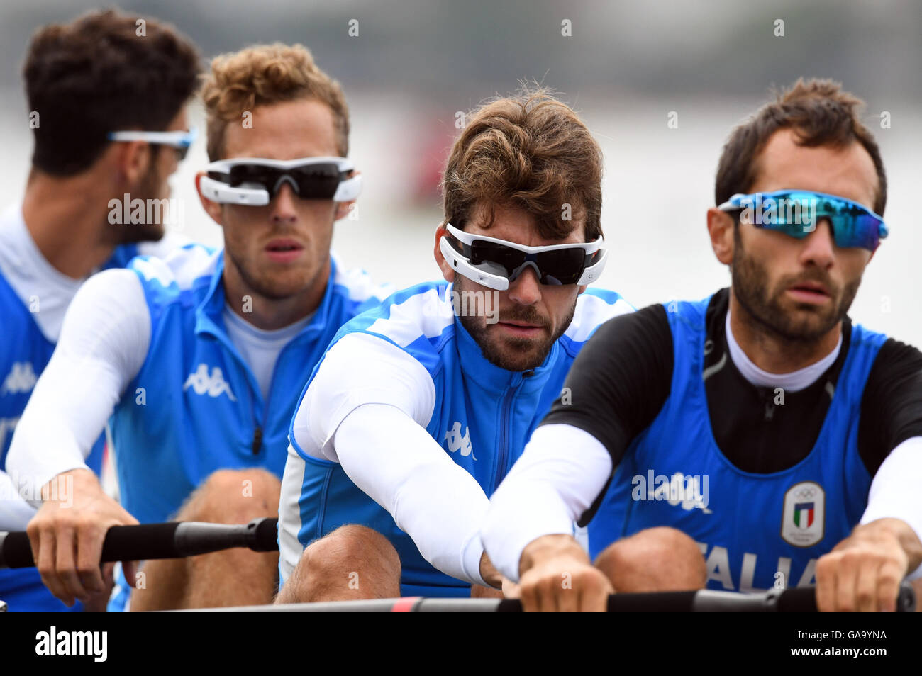 The lightweight four rowing team of Italy (L-R) Martino Goretti, Livio la Padula, Stefano Oppo and Pietro Willy Ruta wear smart glasses as they row during a training session at Lagoa Stadium prior to the Rio 2016 Olympic Games in Rio de Janeiro, Brazil, 4 August 2016. The Rio 2016 Olympic Games take place from 05 to 21 August. Photo: Soeren Stache/dpa Stock Photo