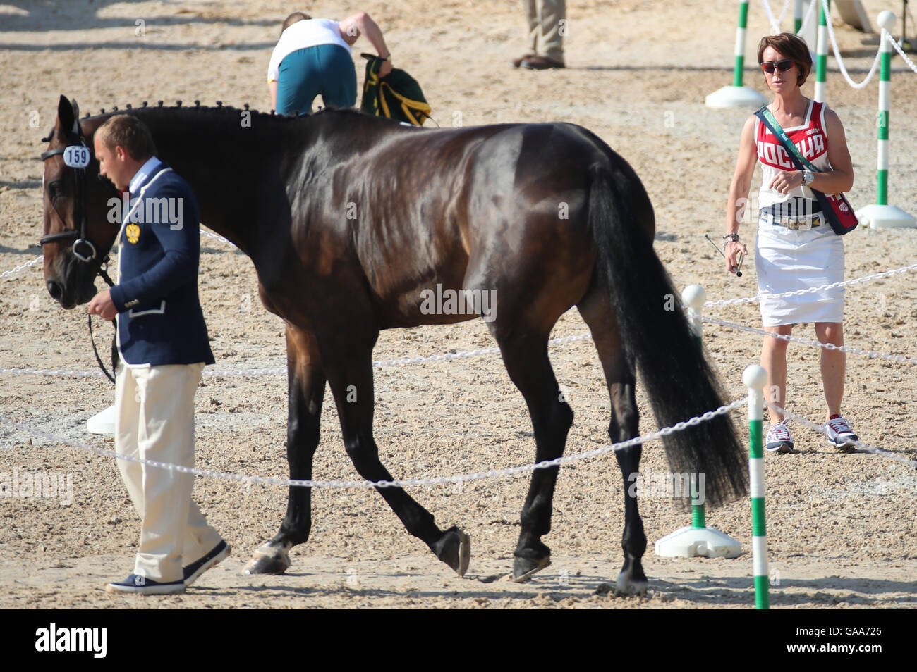 Deodoro, Rio de Janeiro, Brazil. 05th Aug, 2016. Rider Bettina Hoy (R) of Germany, personal coach of Aleksandr Markov Stock Photo