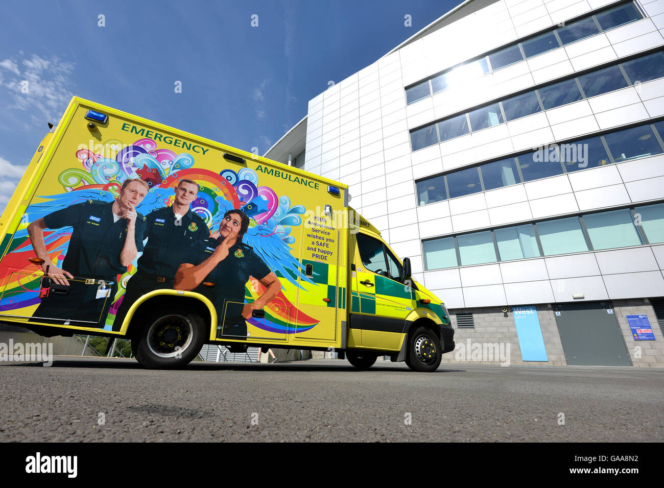 Brighton, UK, 5th August 2016. On the day before Brighton's Pride march South East Coast Ambulance service hosted - Stock Image