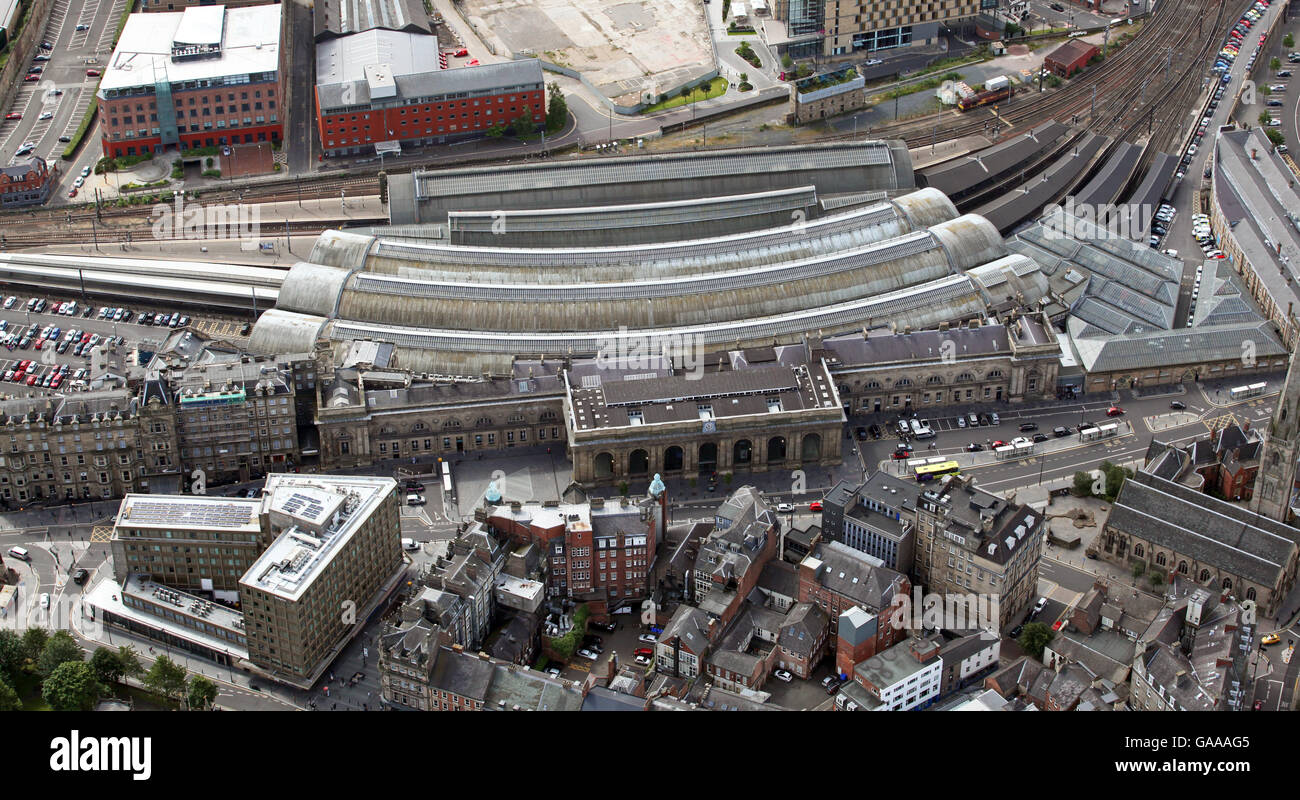 aerial view of central Newcastle Station, Newcastle-upon-Tyne, UK - Stock Image
