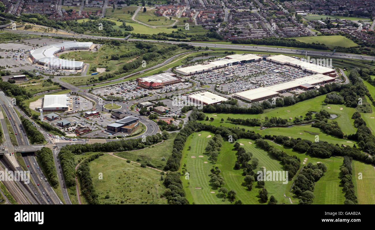 aerial view of Teesside Retail Park shopping centre, Stockton on Tees, UK - Stock Image
