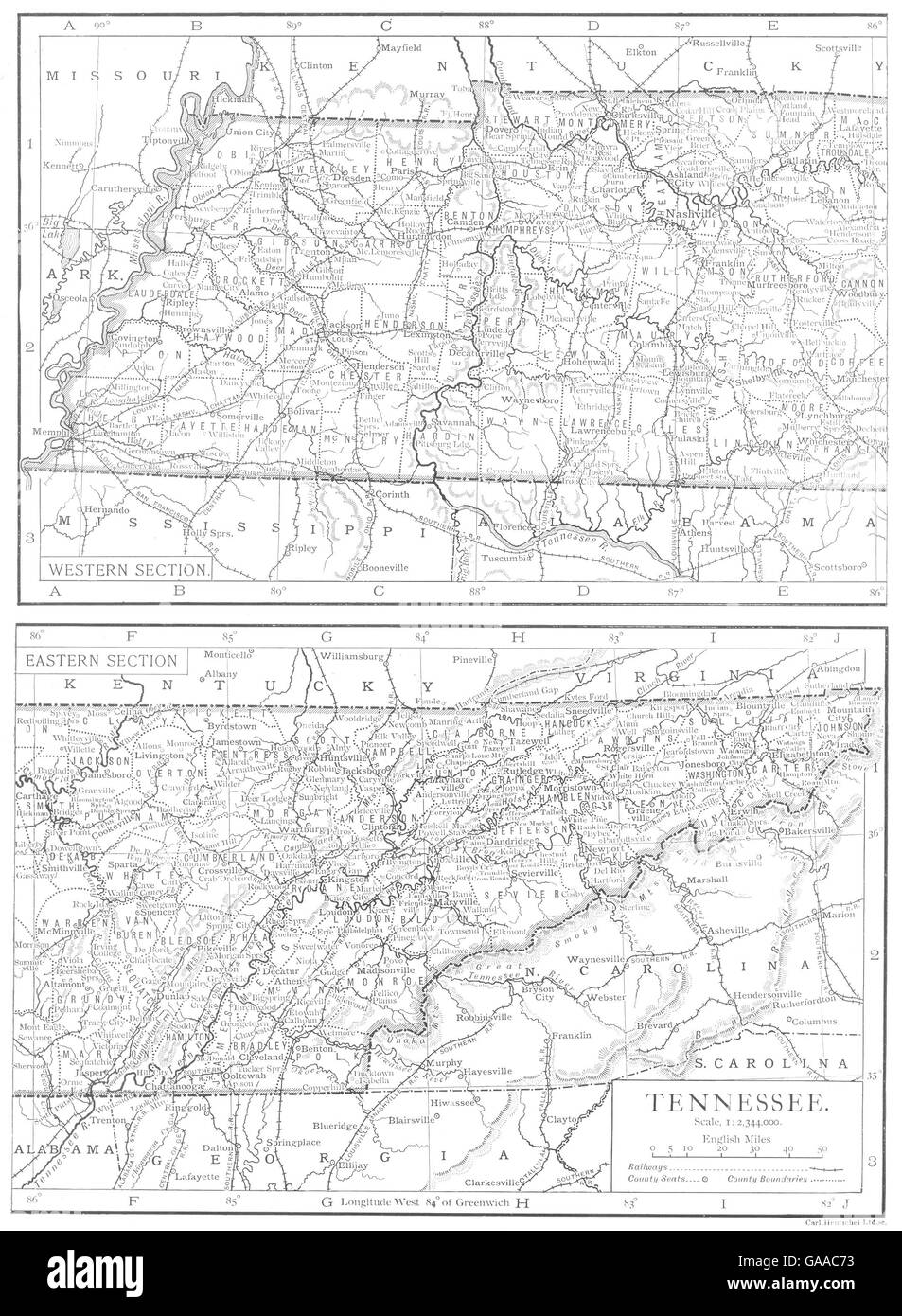 Tn State Map With Counties.Tennessee Tennessee State Map Showing Counties 1910 Stock Photo