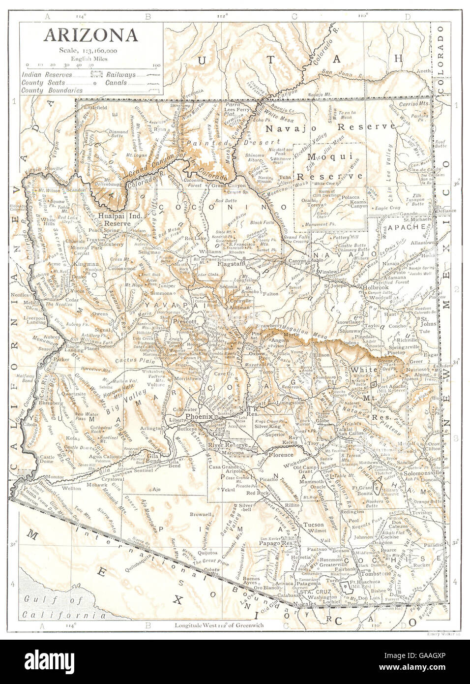 Counties Of Arizona Map.Arizona State Map Showing Counties Indian Reservations 1910 Stock