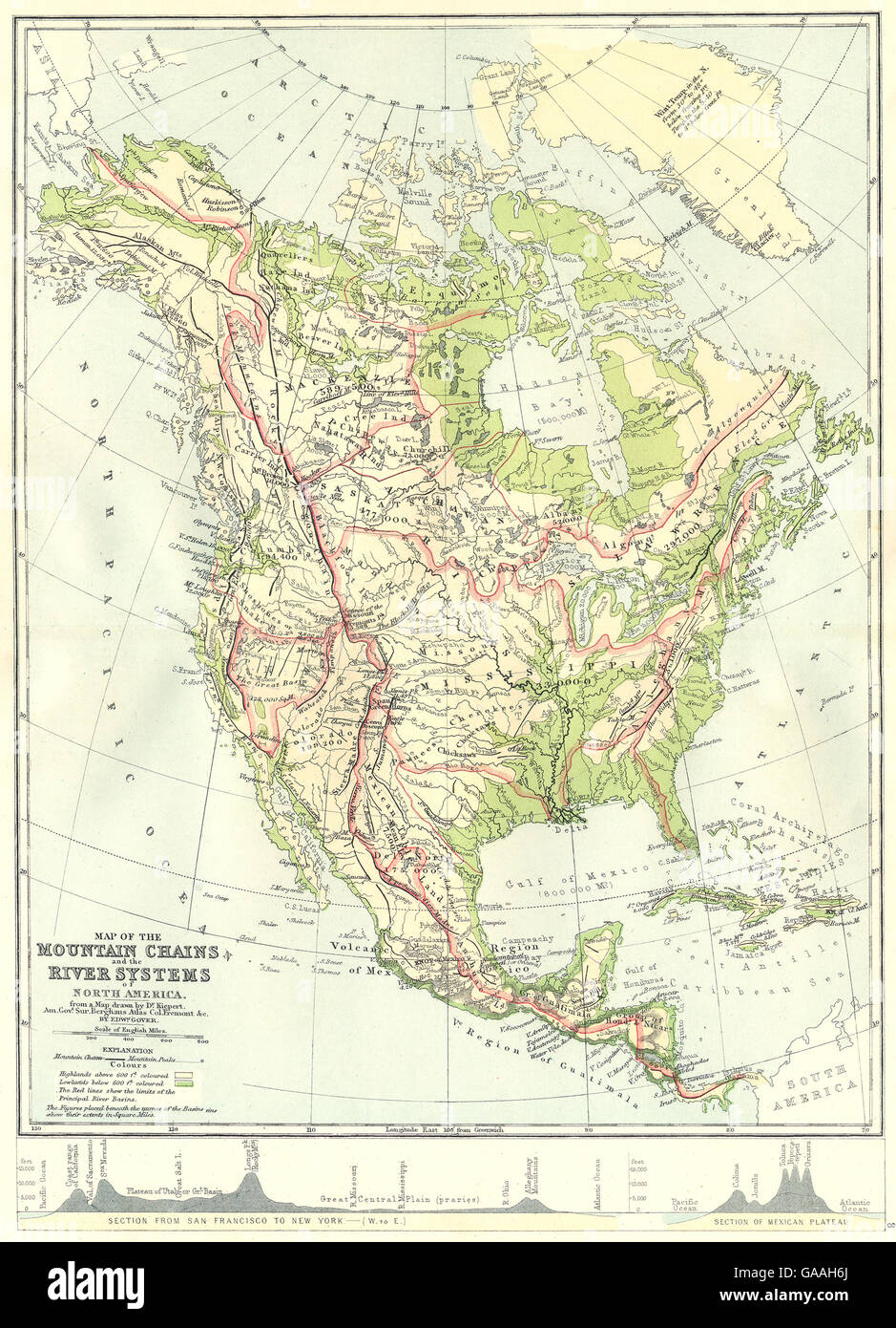 North America Map With Rivers And Mountains.North America Map Mountain Chains River Systems Of 1881 Stock
