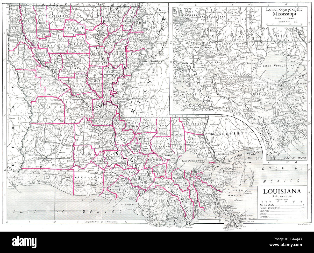 Louisiana State Map Parishes Inset Map Of Lower Course Of The