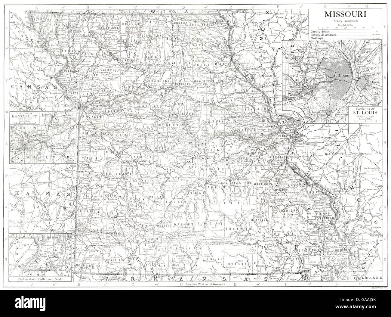 MISSOURI: State map showing counties. Inset maps of St Louis Kansas on springfield missouri on state map, kansas city missouri united states map, wichita kansas on state map, salt lake city utah on state map, olathe kansas on state map, kansas city missouri on national map, joplin missouri on state map, lawrence kansas on state map,