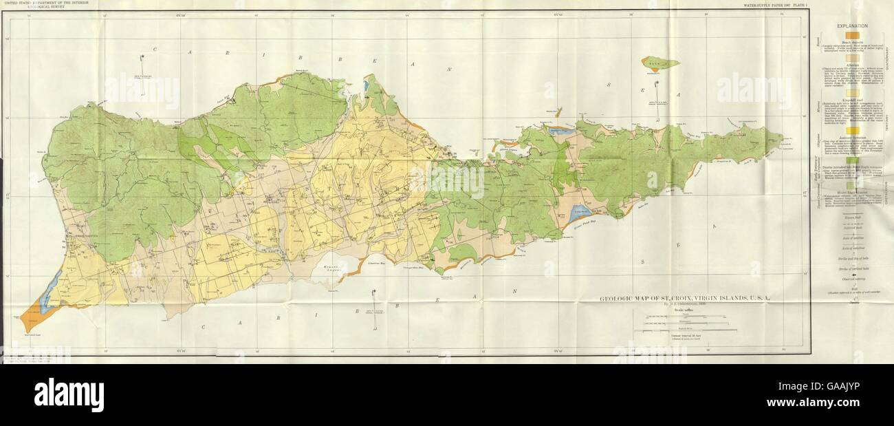 west indies geology and water resources of st croix us virgin islands 1939 map